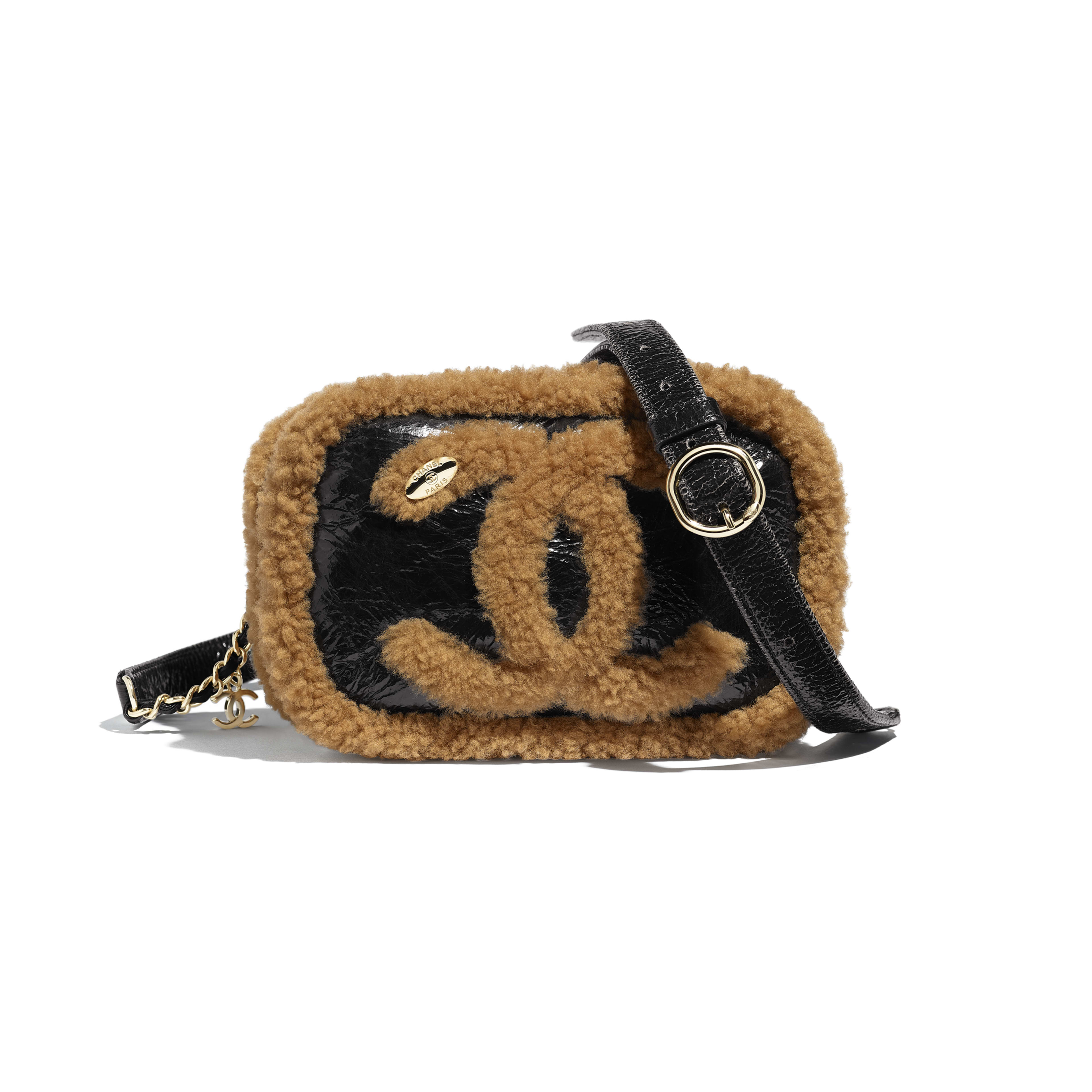 Waist Bag - Black & Brown - Shiny Crumpled Sheepskin, Shearling Sheepskin & Gold-Tone Metal - Default view - see full sized version