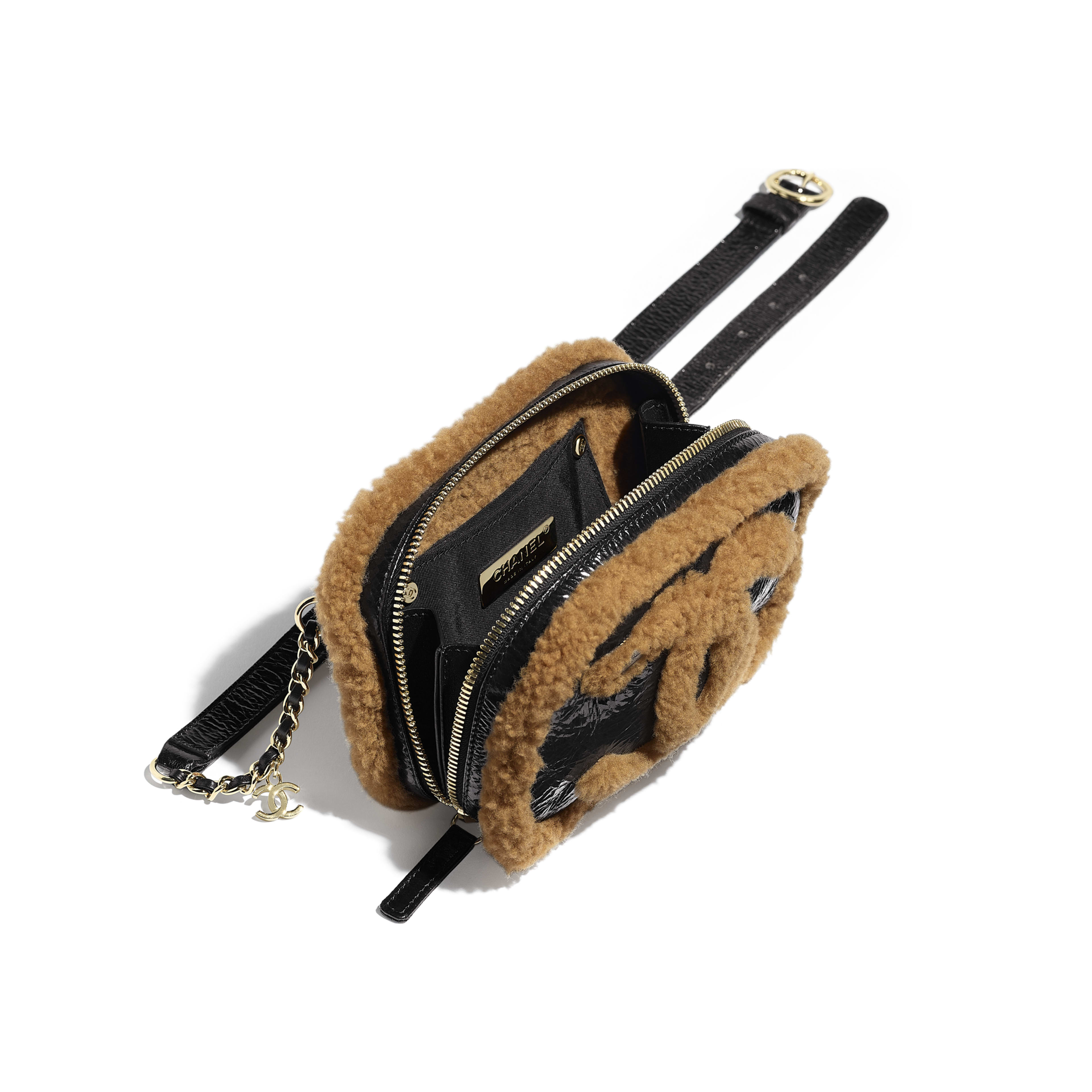 Waist Bag - Black & Brown - Shiny Crumpled Sheepskin, Shearling Sheepskin & Gold-Tone Metal - Other view - see full sized version