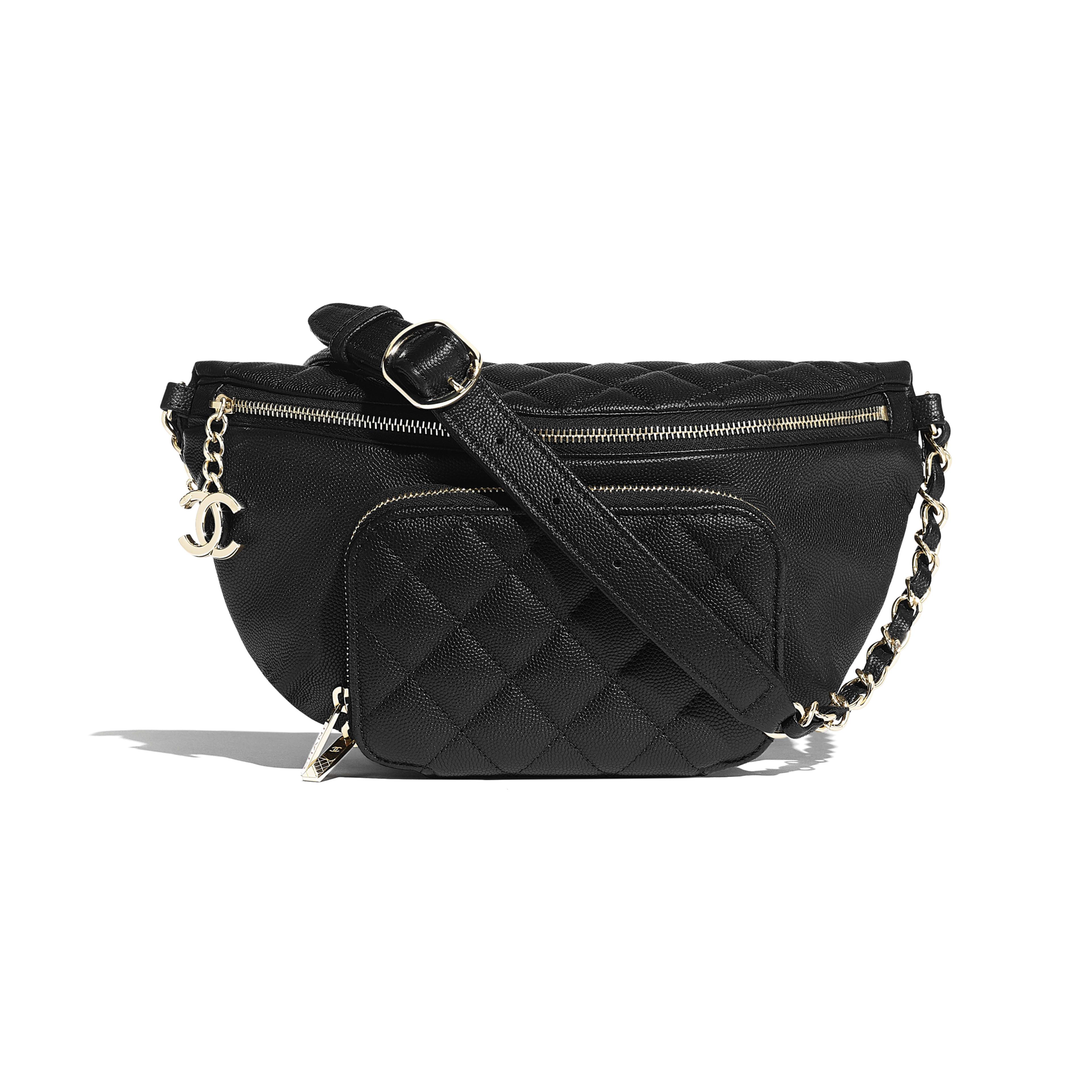 f1a31cf46e Waist Bag - Black - Grained Calfskin   Gold-Tone Metal - Default view ...