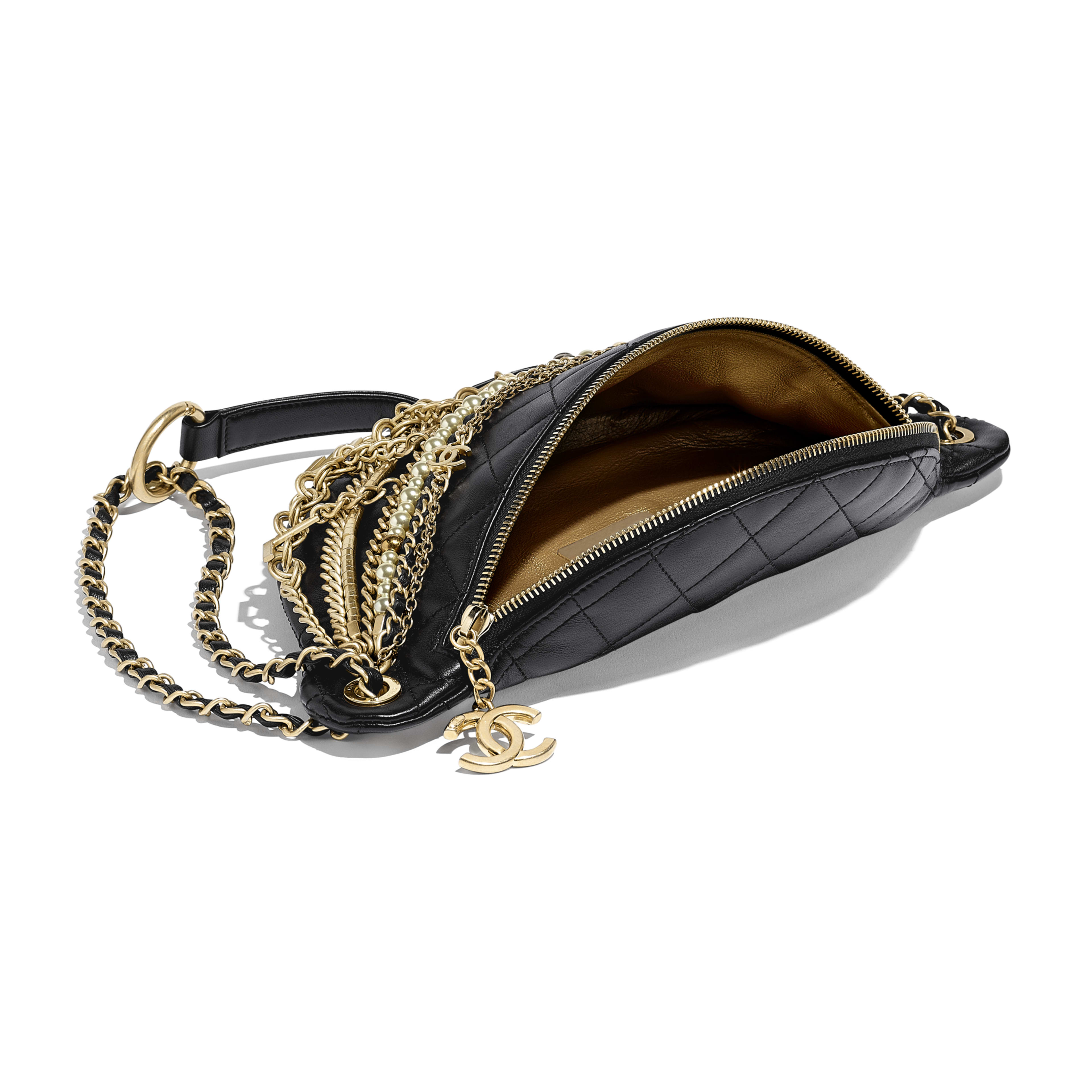 Waist Bag - Black - Lambskin, Gold-Tone & Silver-Tone Metal - Other view - see full sized version