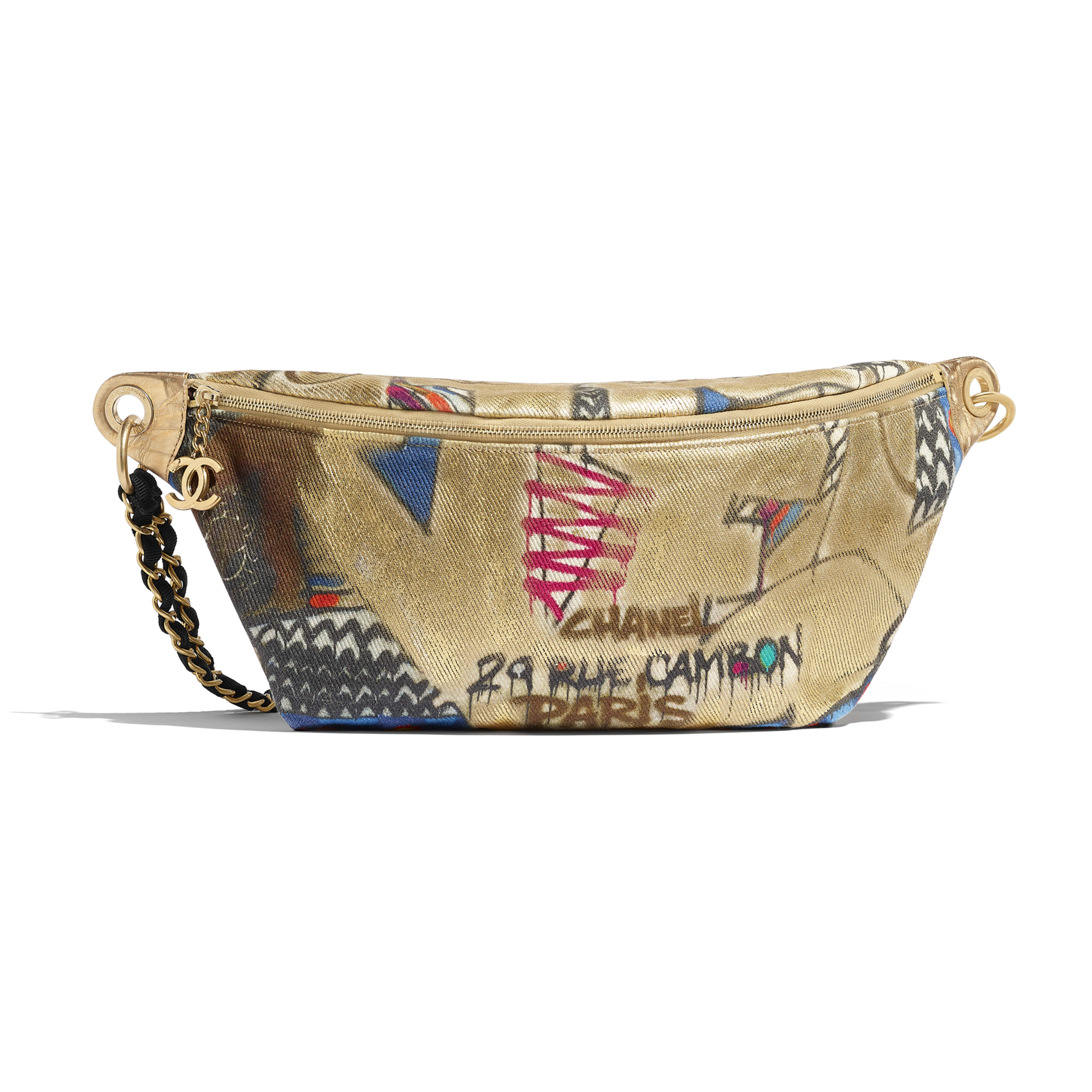 Waist Bag - Multicolor - Calfskin, Cotton & Gold-Tone Metal - Default view - see full sized version