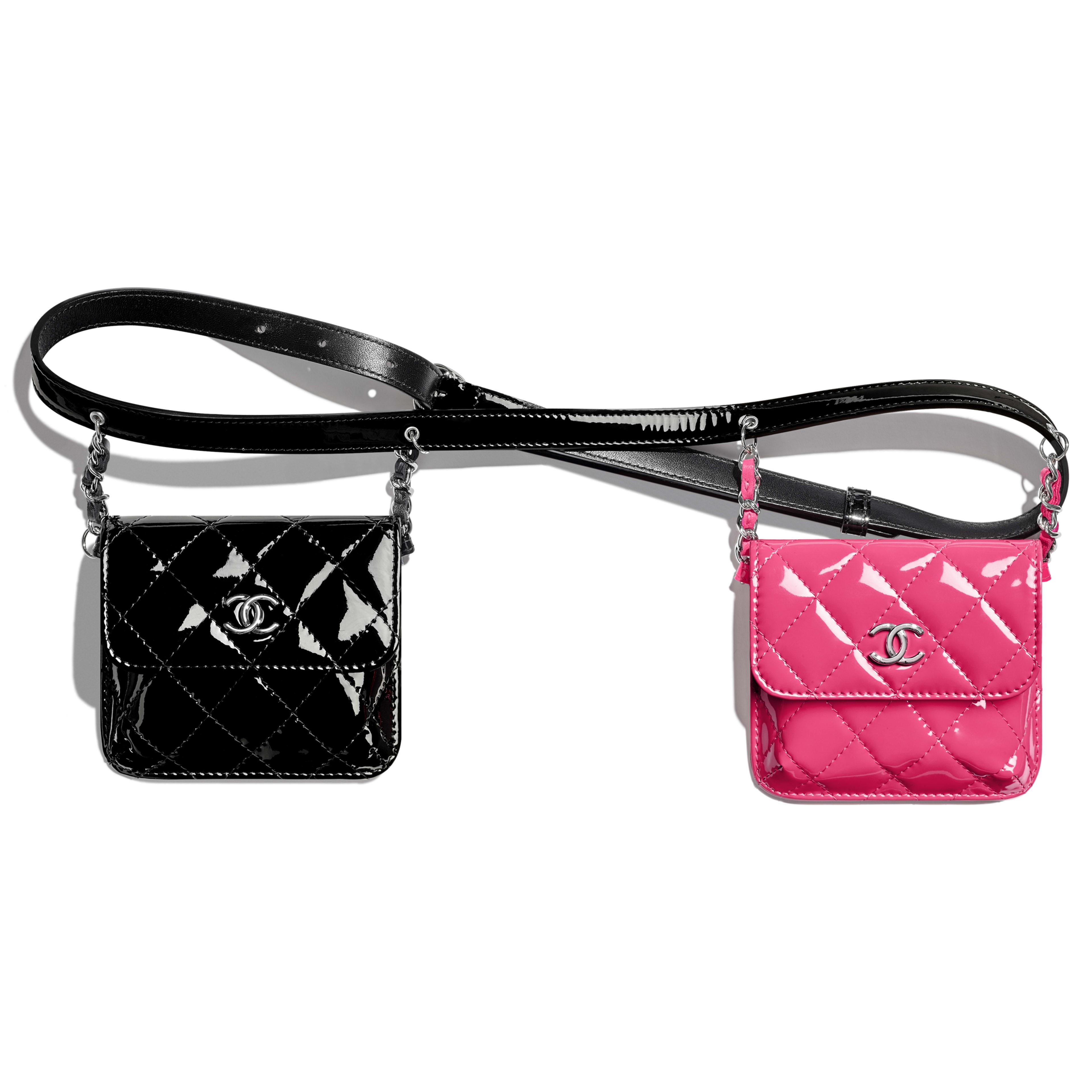 กระเป๋าคาดเอว - สีชมพูและสีดำ - หนังลูกวัวเคลือบเงาและโลหะสีเงิน - มุมมองปัจจุบัน - ดูเวอร์ชันขนาดเต็ม
