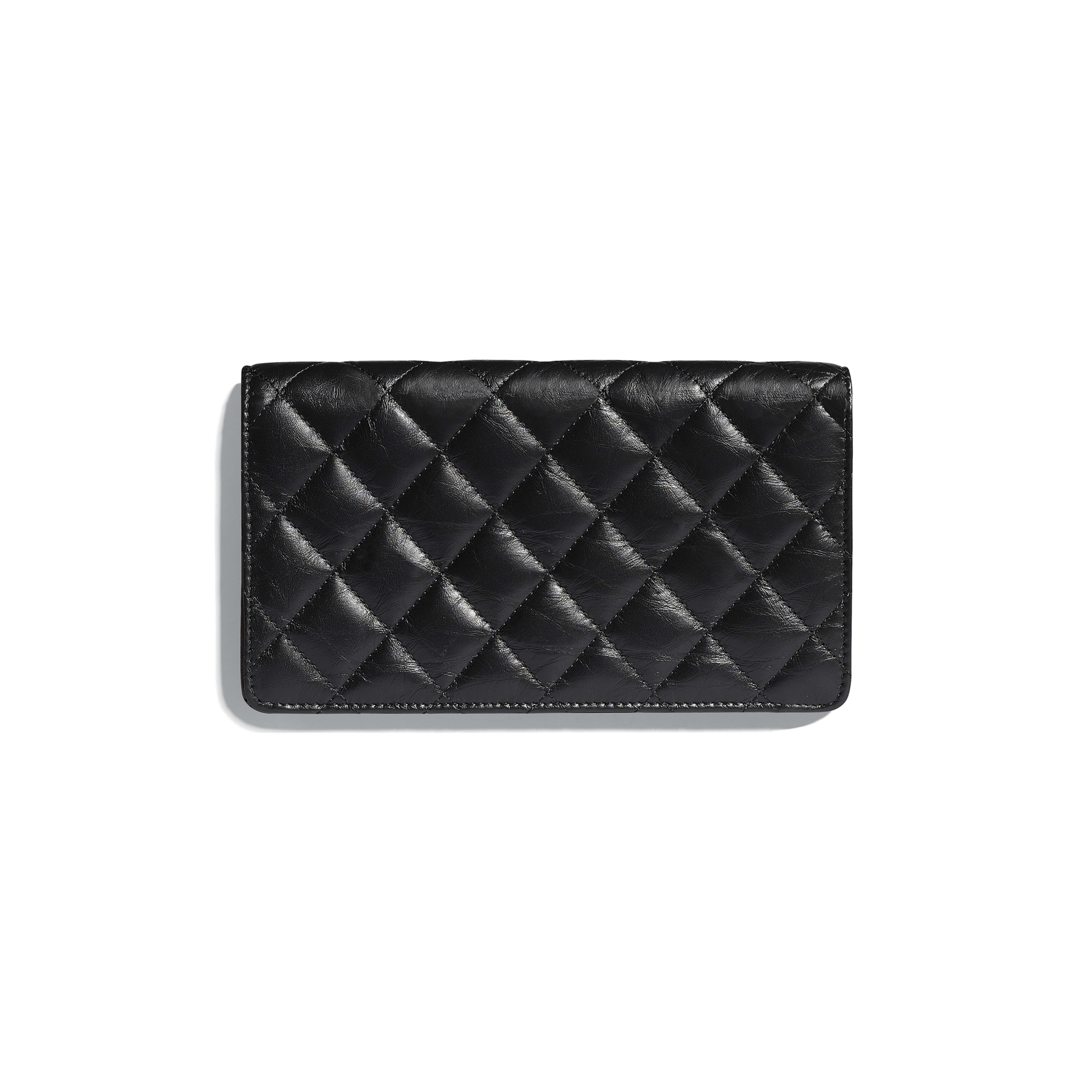 Double Wallet - Black - Aged Calfskin & Gold-Tone Metal - Alternative view - see full sized version