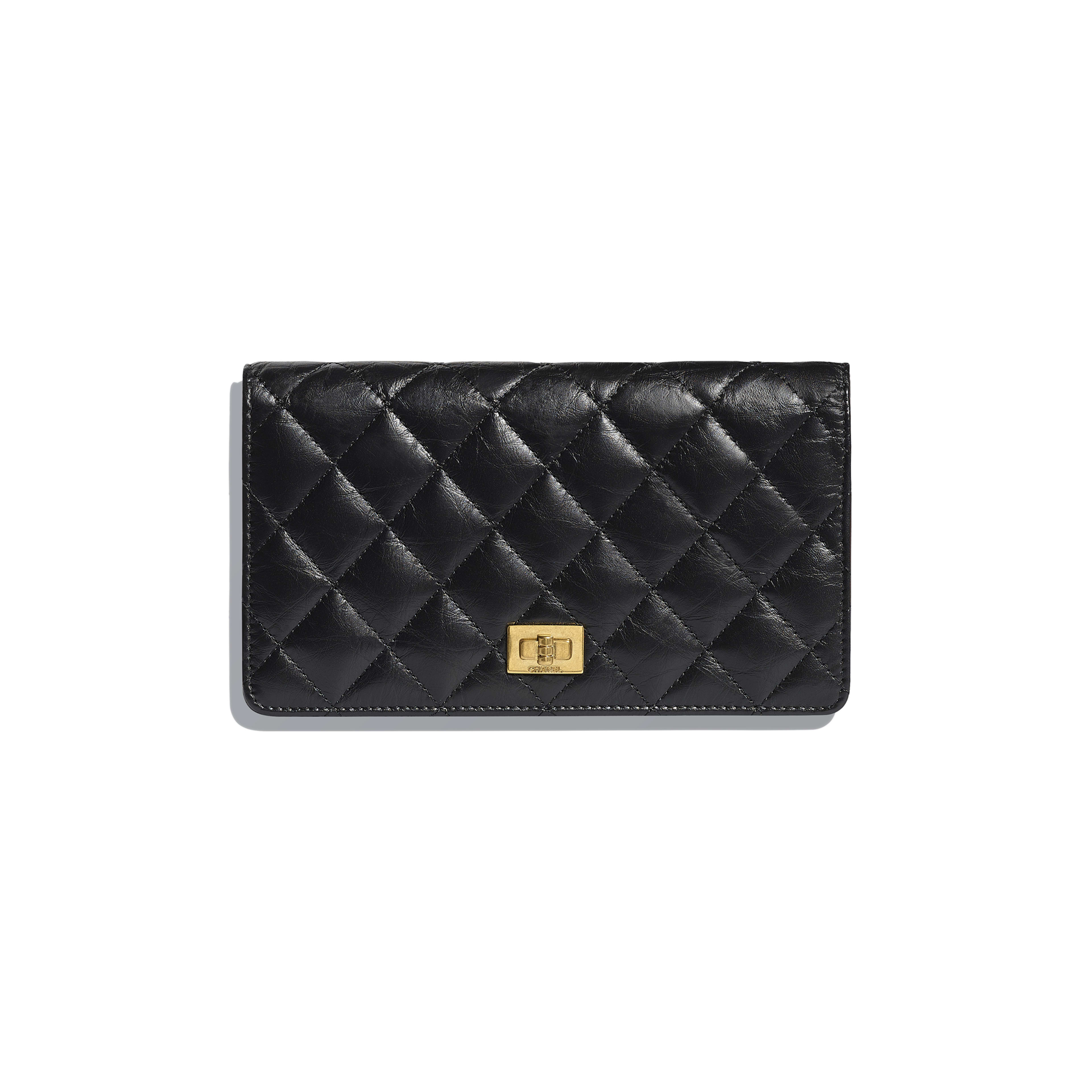 Double Wallet - Black - Aged Calfskin & Gold-Tone Metal - Default view - see full sized version