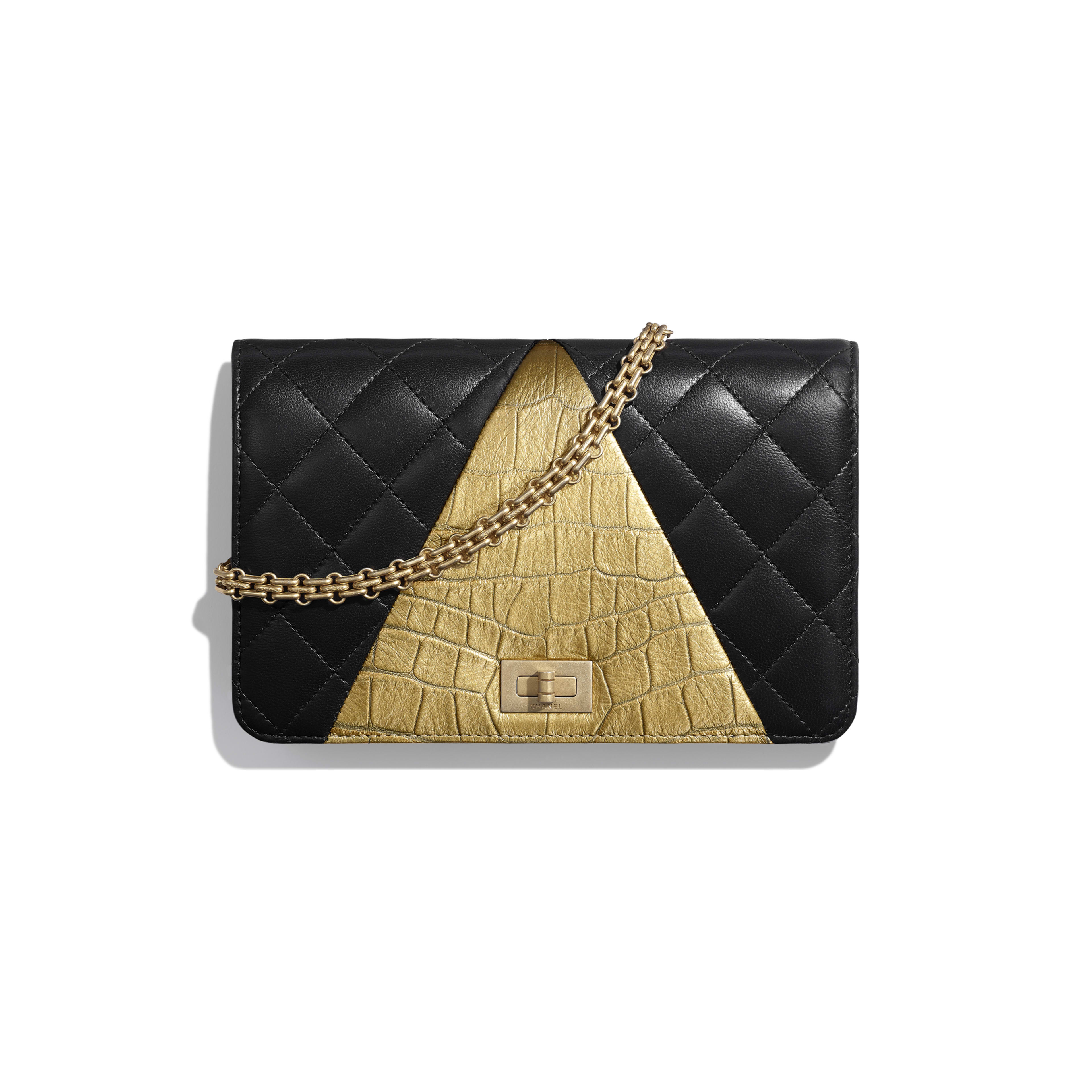 Wallet on Chain - Black & Gold - Lambskin, Crocodile Embossed Calfskin & Gold-Tone Metal - Default view - see full sized version