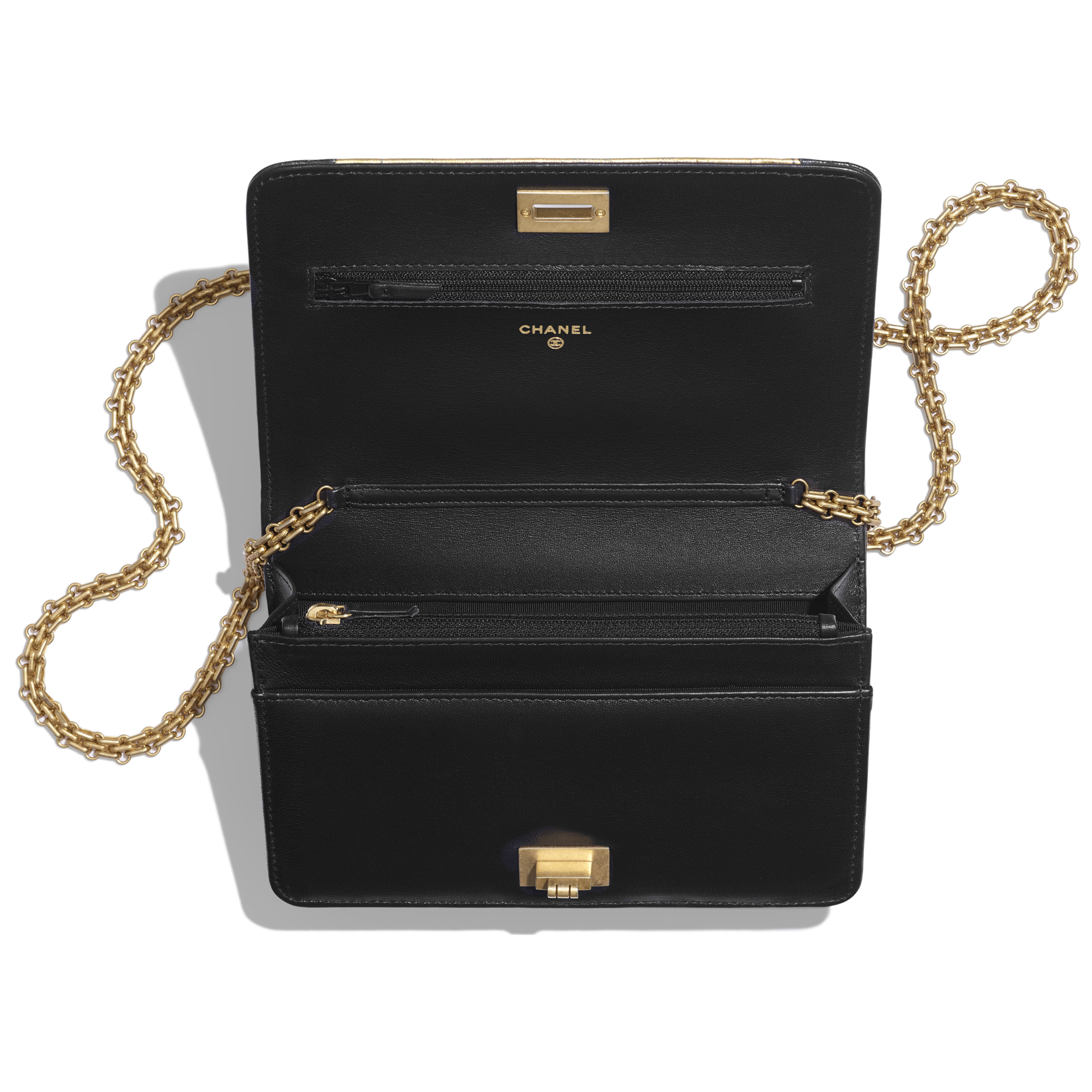 Wallet on Chain - Black & Gold - Lambskin, Crocodile Embossed Calfskin & Gold-Tone Metal - Other view - see full sized version