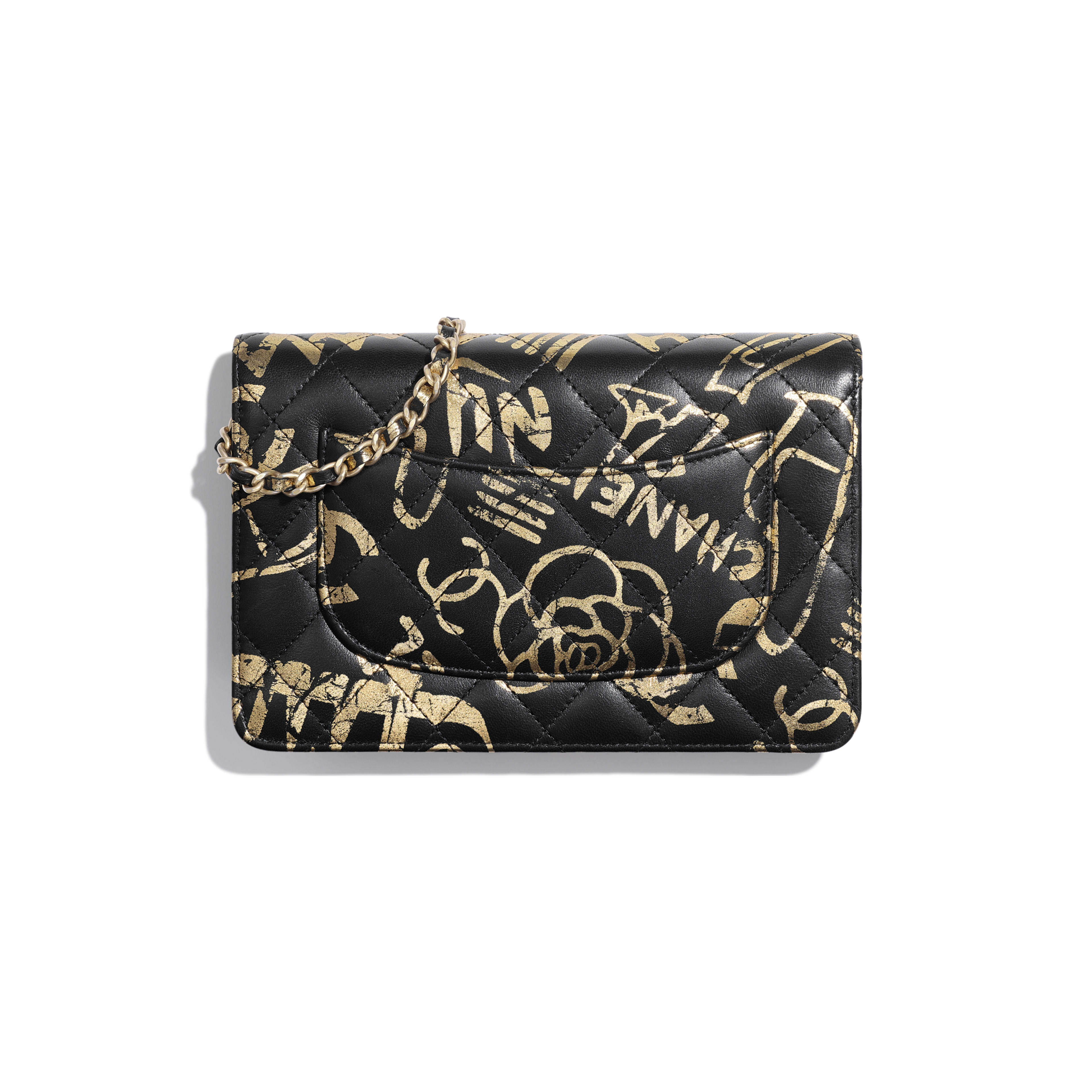 Wallet on Chain - Black & Gold - Printed Calfskin & Gold-Tone Metal - Alternative view - see full sized version