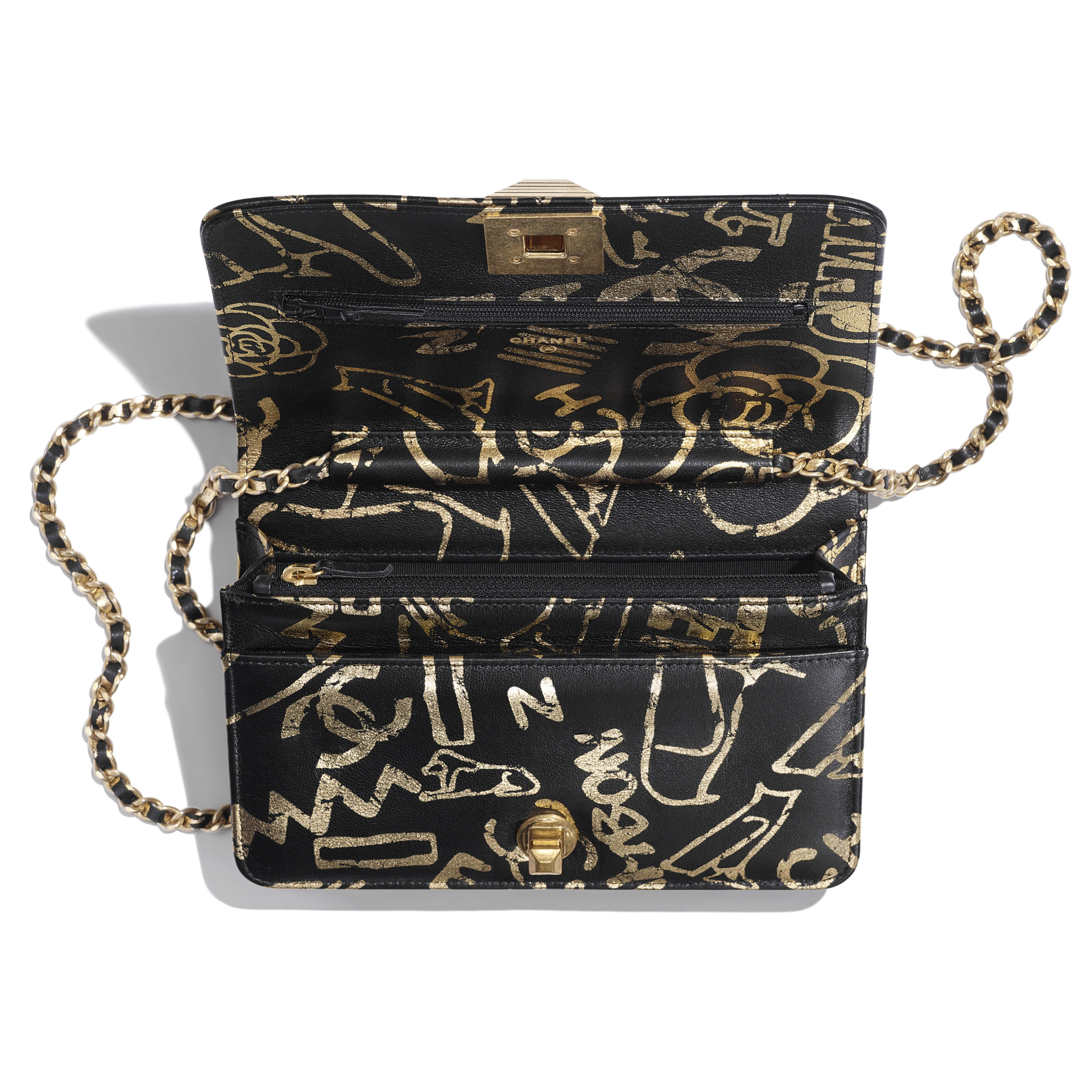Wallet on Chain - Black & Gold - Printed Calfskin & Gold-Tone Metal - Other view - see full sized version