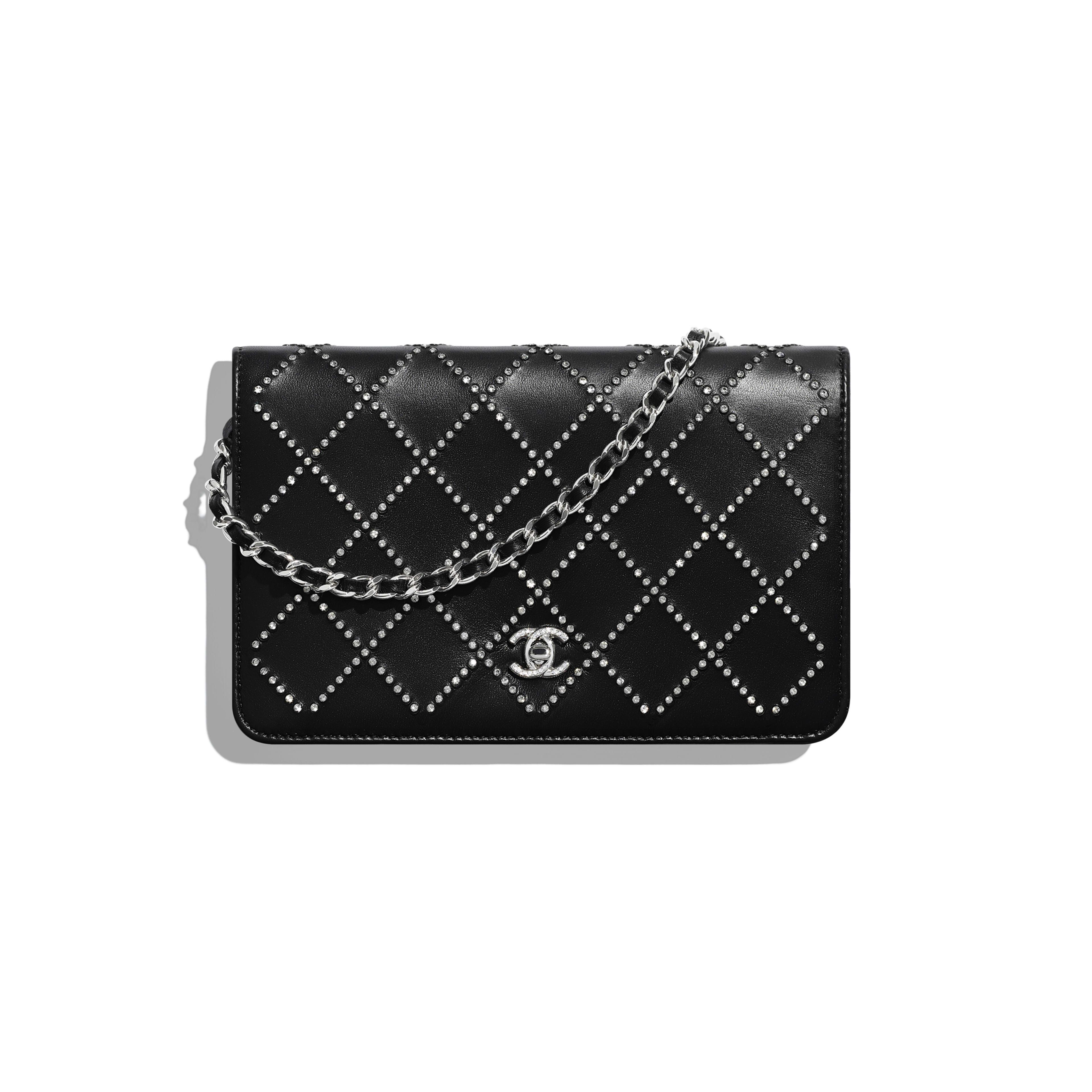 กระเป๋าสตางค์พร้อมสายโซ่ - สีดำ - หนังแกะมันเงา คริสตัล และโลหะสีเงิน - มุมมองปัจจุบัน - ดูเวอร์ชันขนาดเต็ม