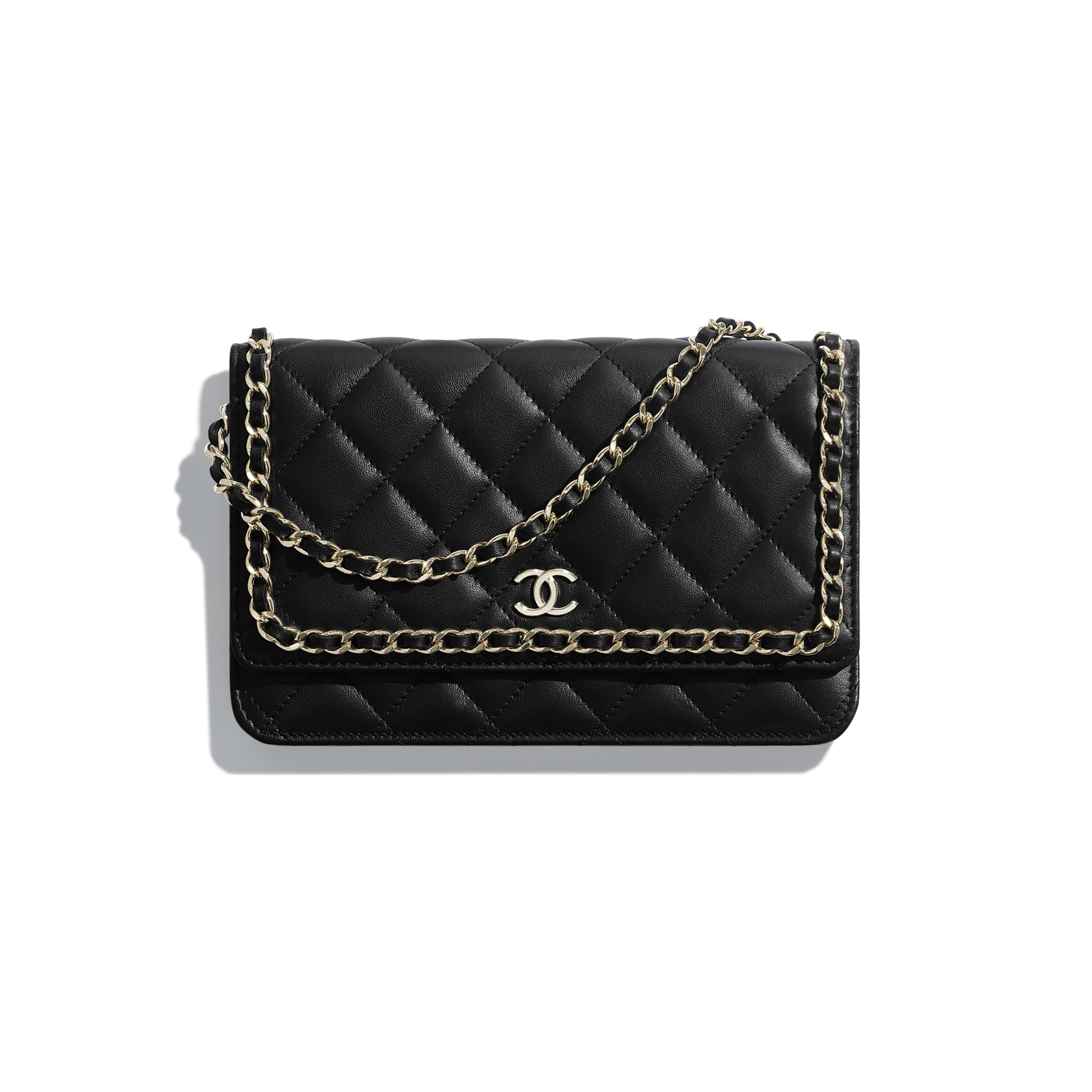 Wallet on Chain - Black - Lambskin, Chains & Gold-Tone Metal - Default view - see full sized version