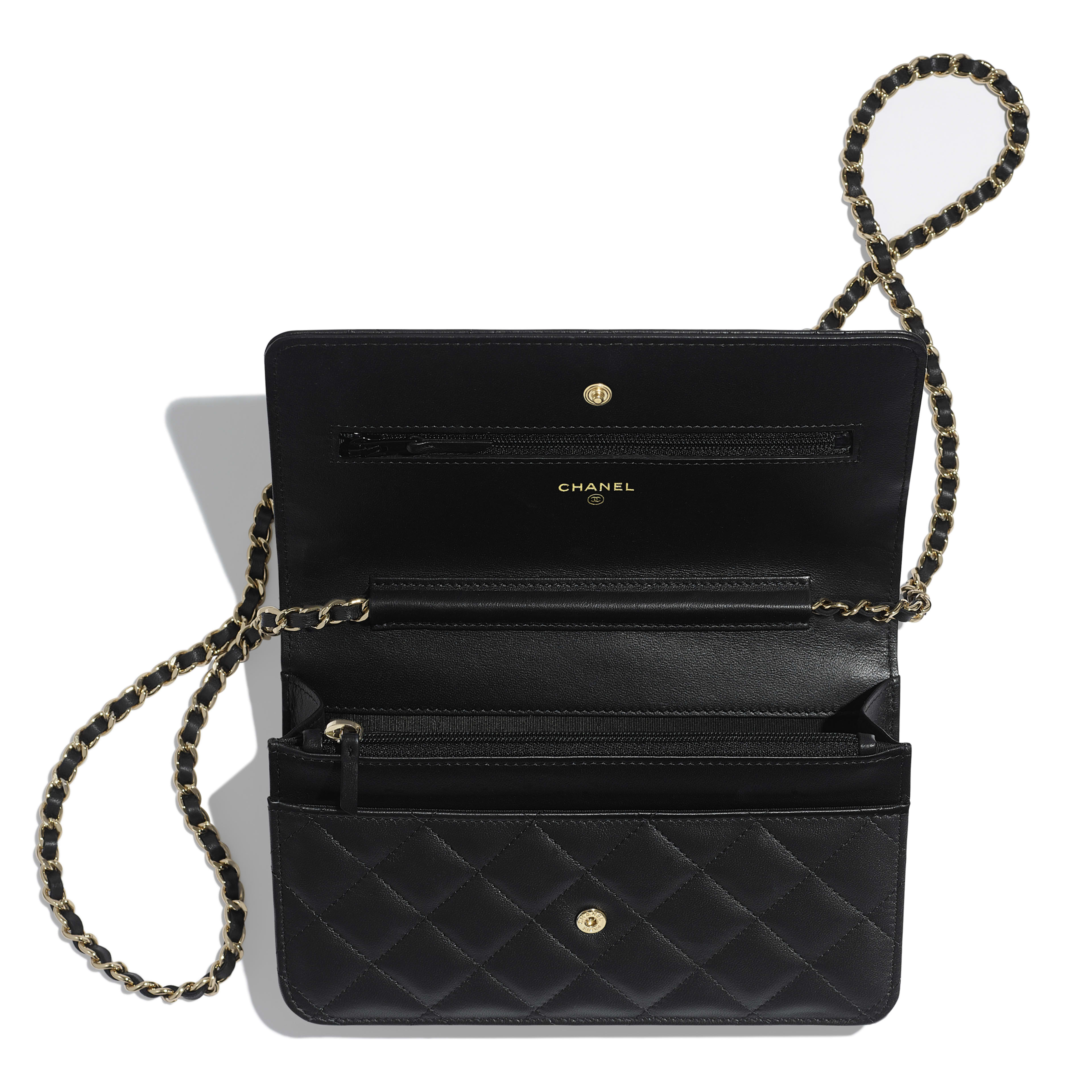 Wallet on Chain - Black - Lambskin, Chains & Gold-Tone Metal - Other view - see full sized version