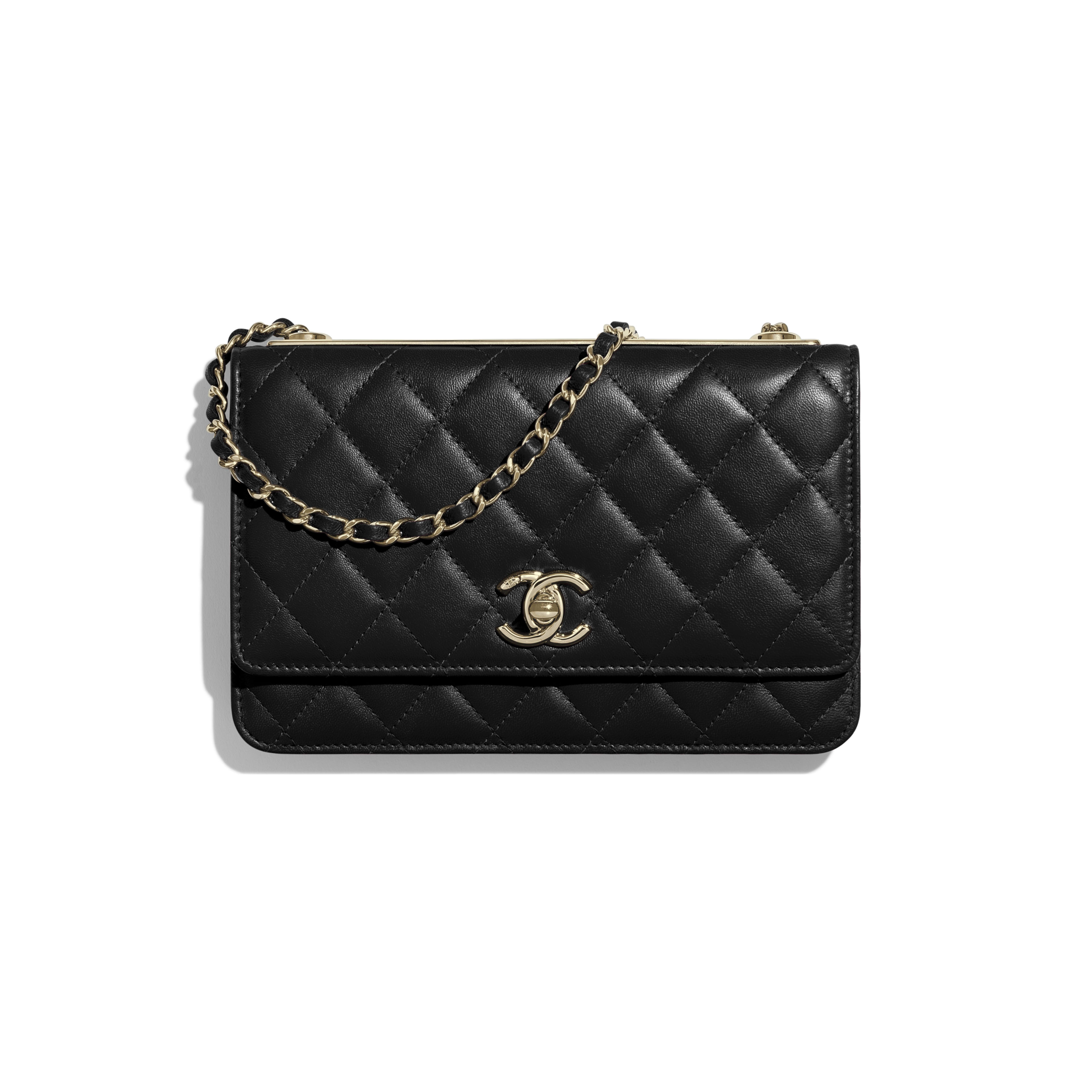 Wallet on Chain - Black - Lambskin & Gold-Tone Metal - Default view - see full sized version