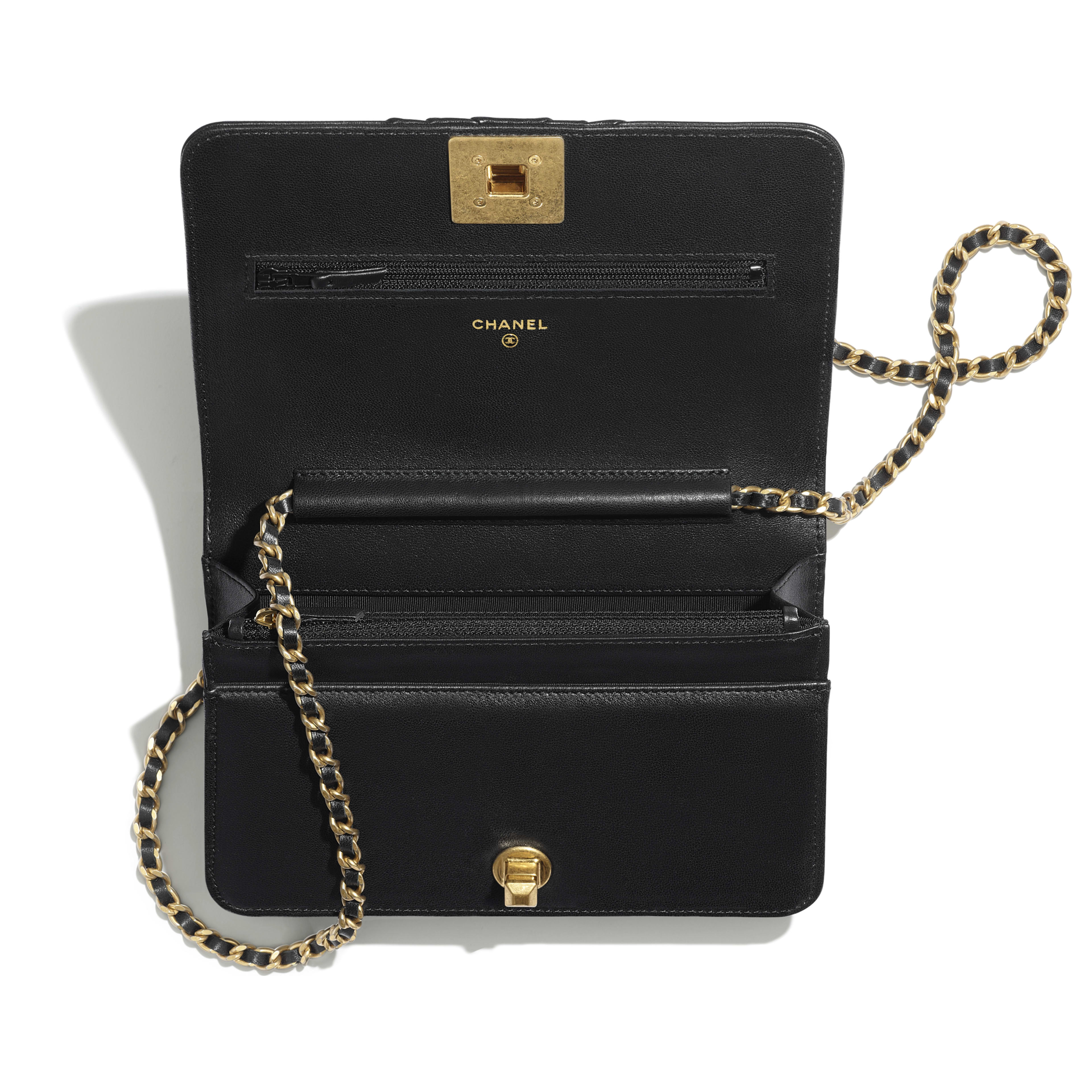 Wallet on Chain - Black - Pleated Lambskin & Gold-Tone Metal - Other view - see full sized version