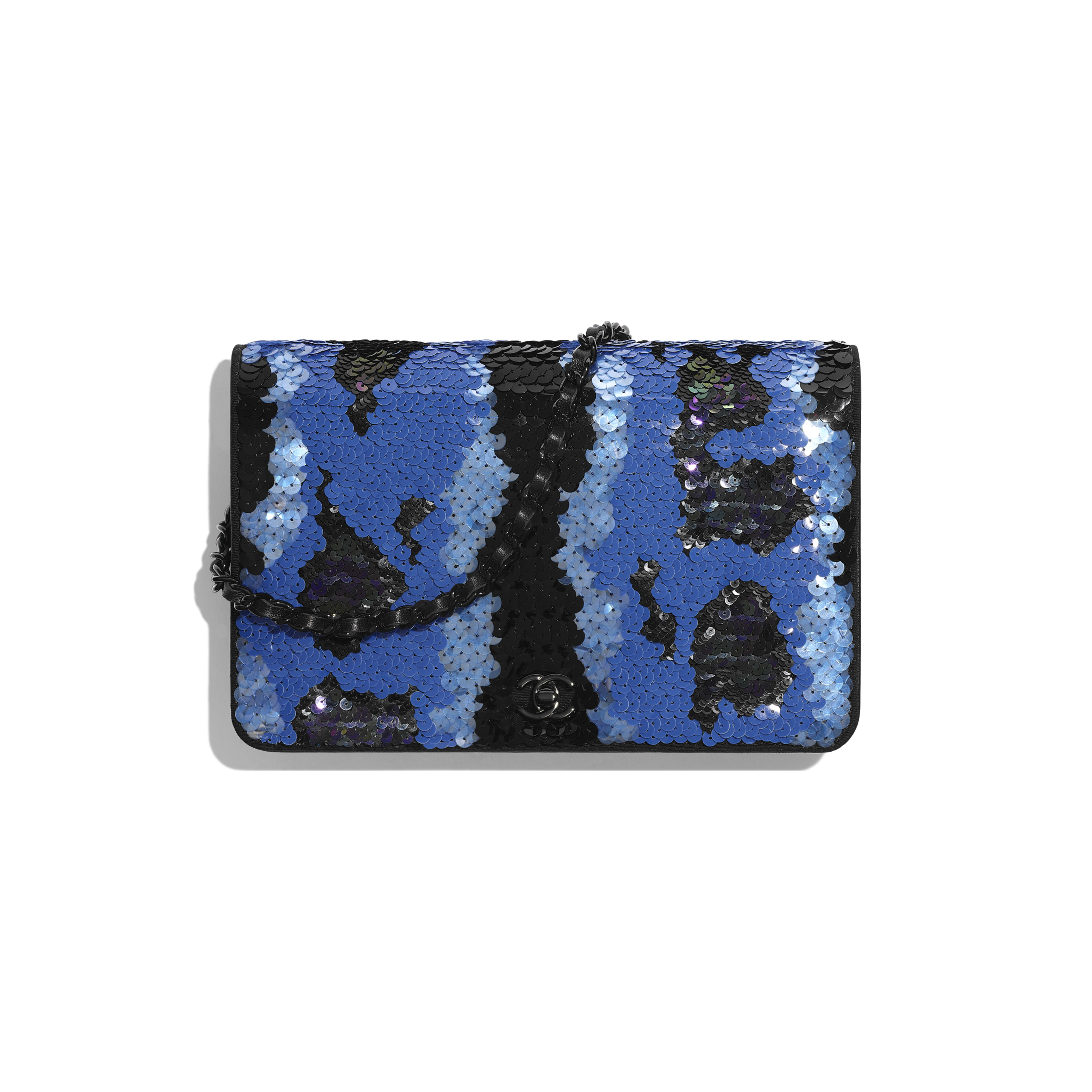 Wallet on Chain - Blue & Black - Sequins & Black Metal - Default view - see full sized version