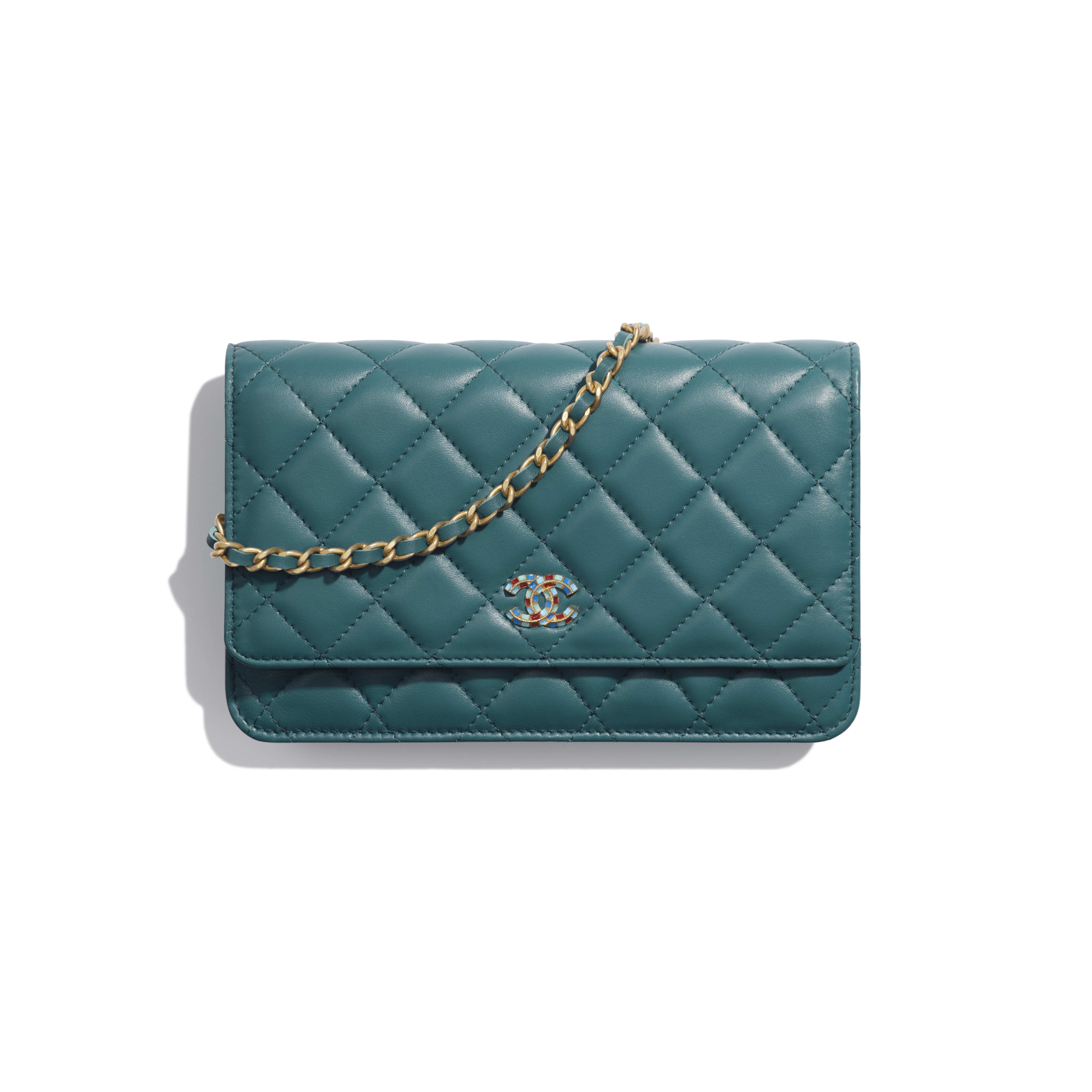 Wallet on Chain - Dark Turquoise - Lambskin & Gold-Tone Metal - Default view - see full sized version