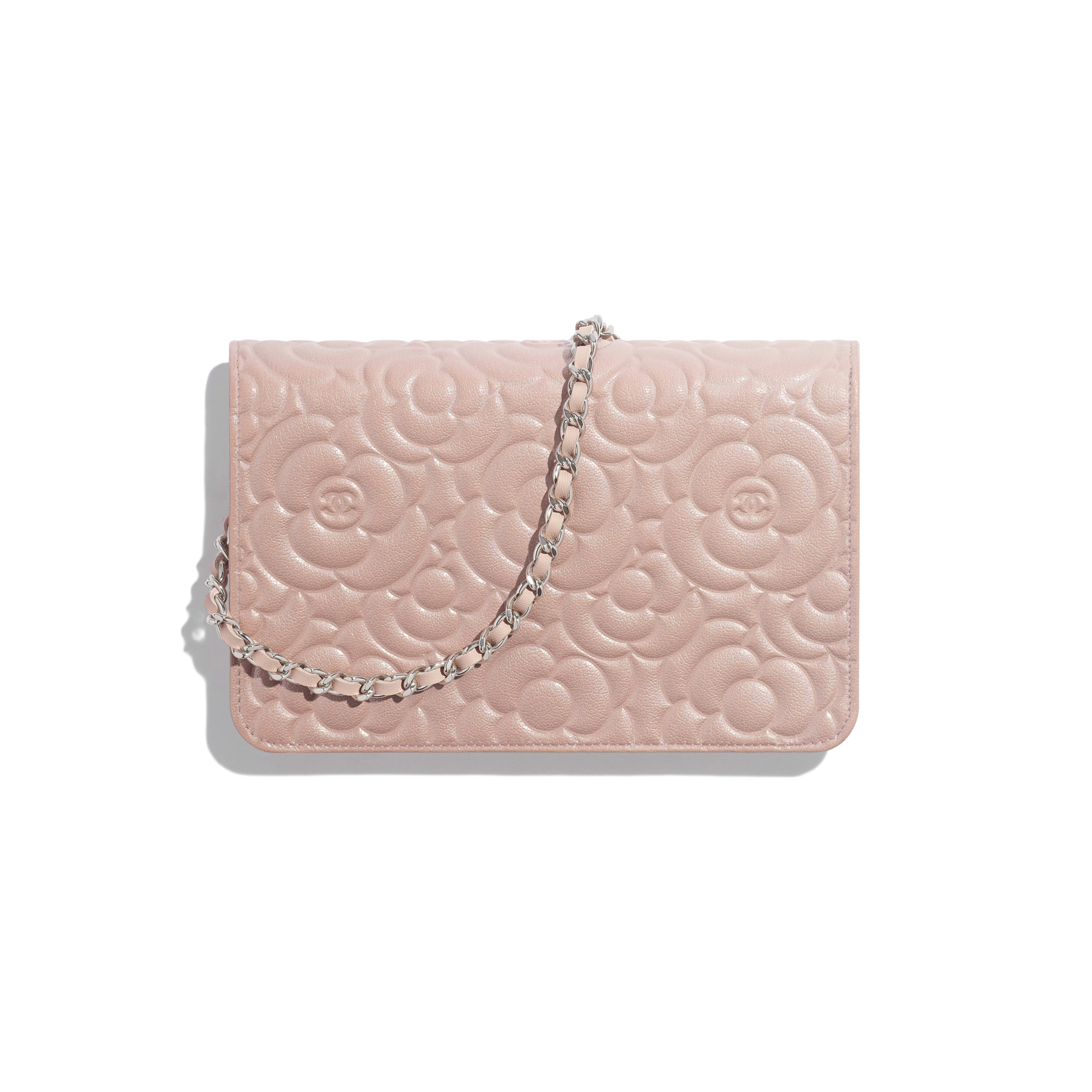 Wallet on Chain - Light Pink - Satin Finish Goatskin & Silver-Tone Metal - Alternative view - see full sized version