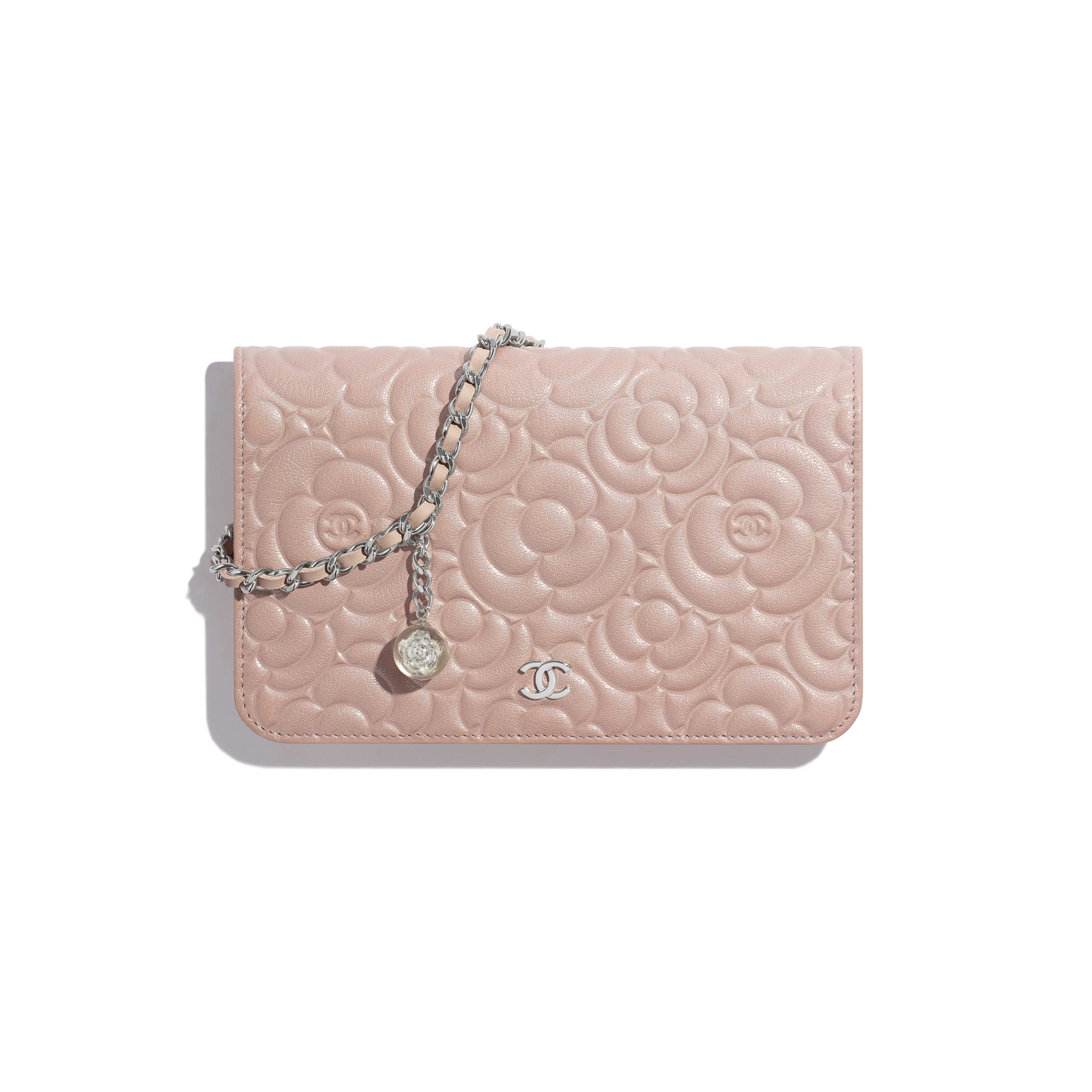 Wallet on Chain - Light Pink - Satin Finish Goatskin & Silver-Tone Metal - Default view - see full sized version