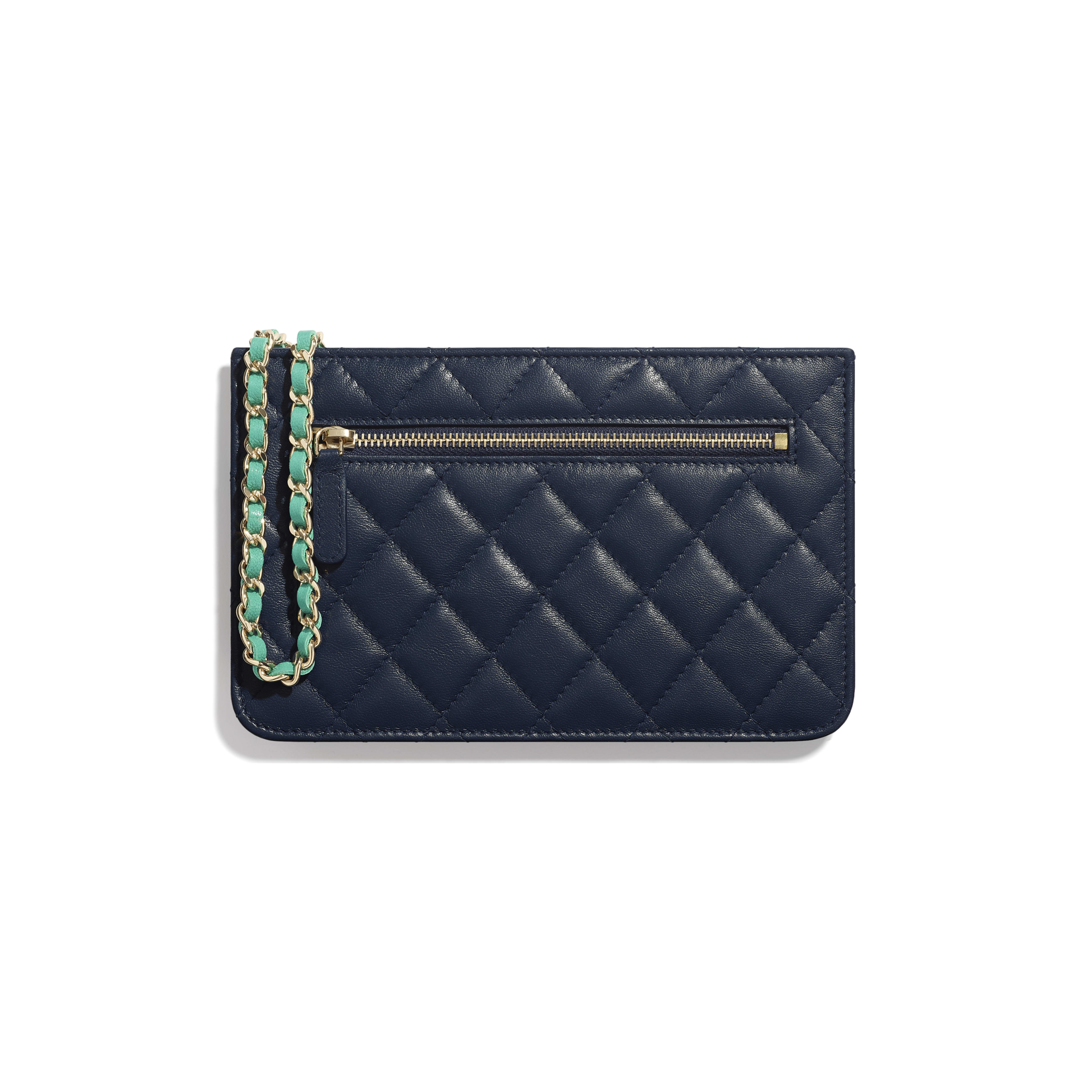 Wallet On Chain - Navy Blue, Green & Dark Pink - Goatskin & Gold-Tone Metal - Alternative view - see full sized version