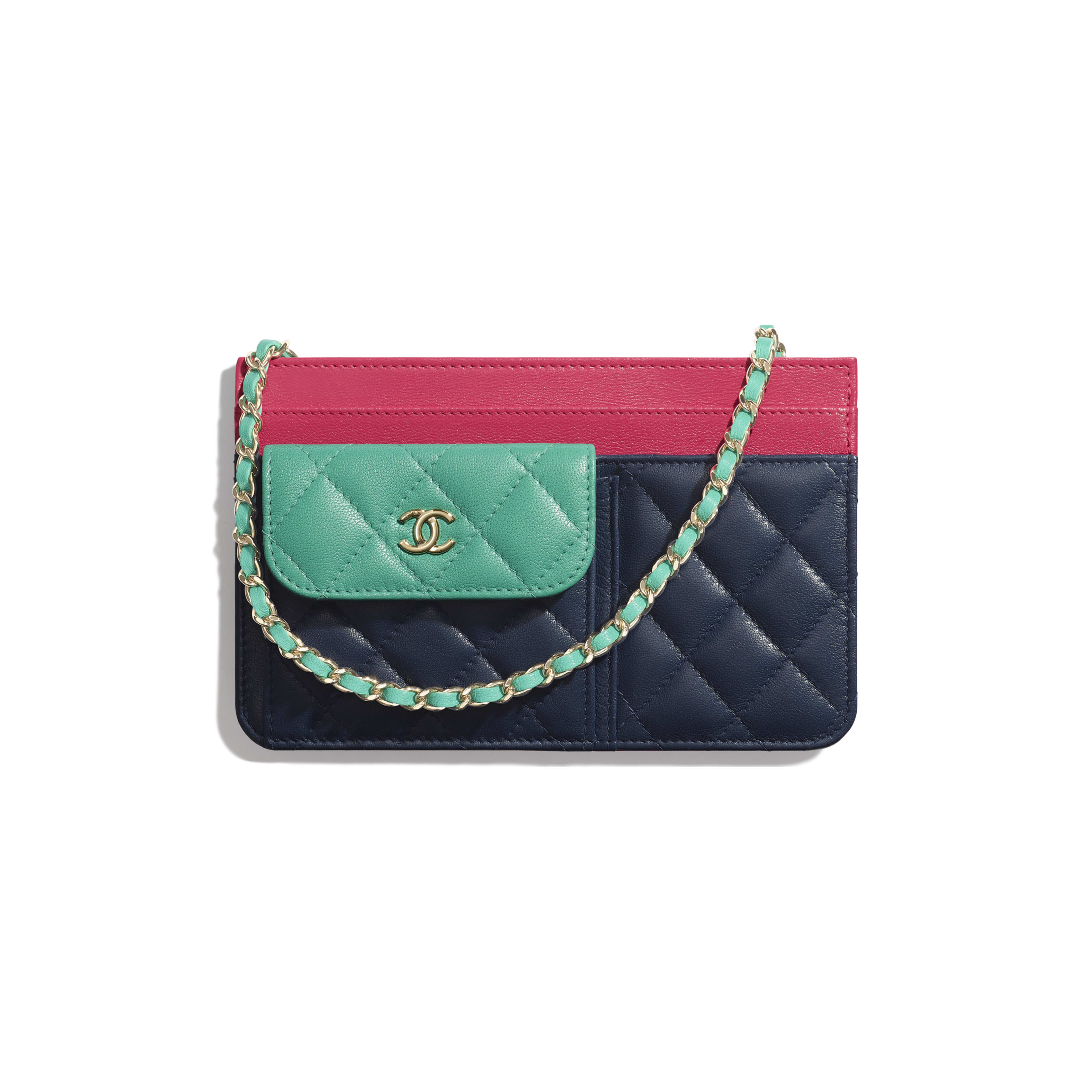 Wallet On Chain - Navy Blue, Green & Dark Pink - Goatskin & Gold-Tone Metal - Default view - see full sized version