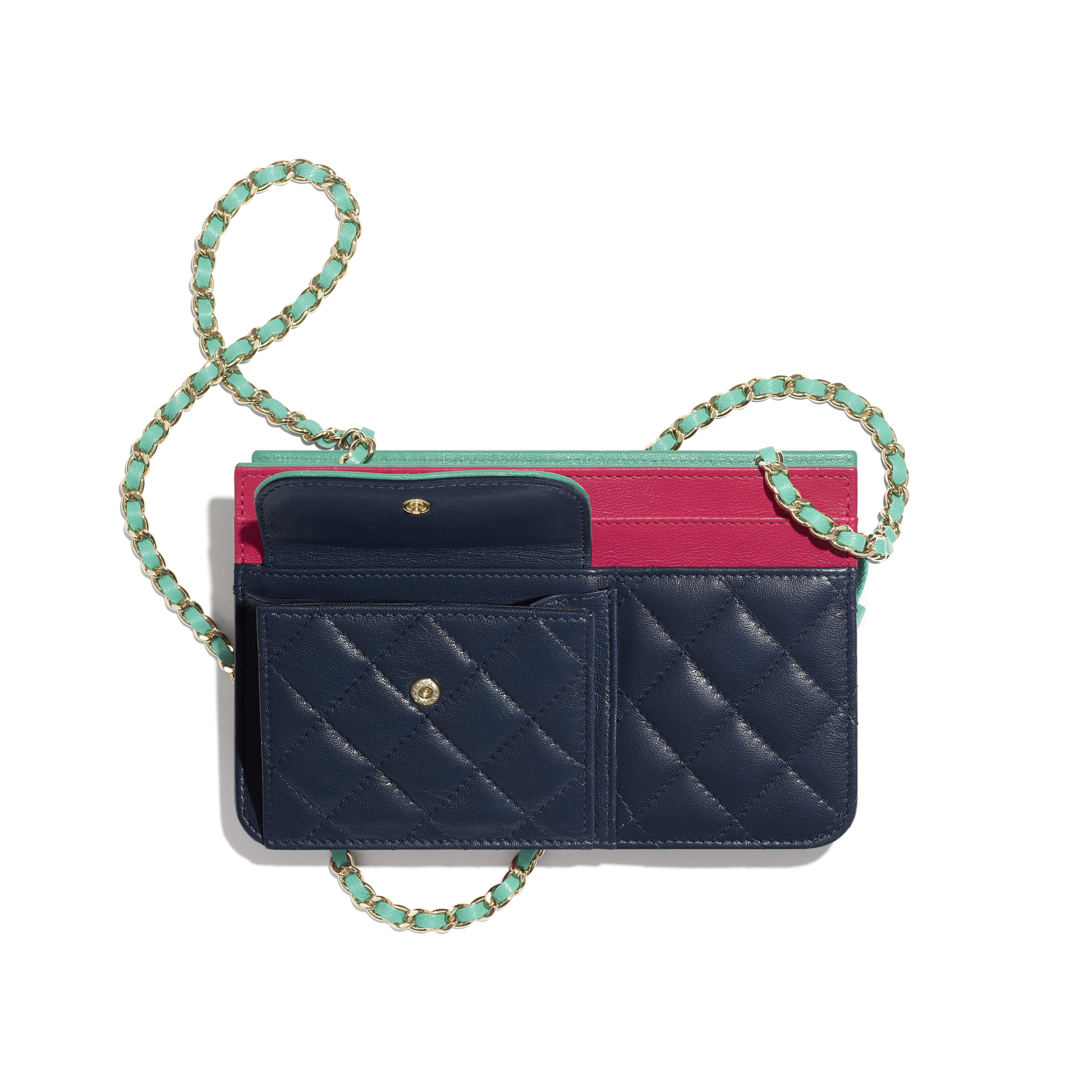 Wallet On Chain - Navy Blue, Green & Dark Pink - Goatskin & Gold-Tone Metal - Other view - see full sized version