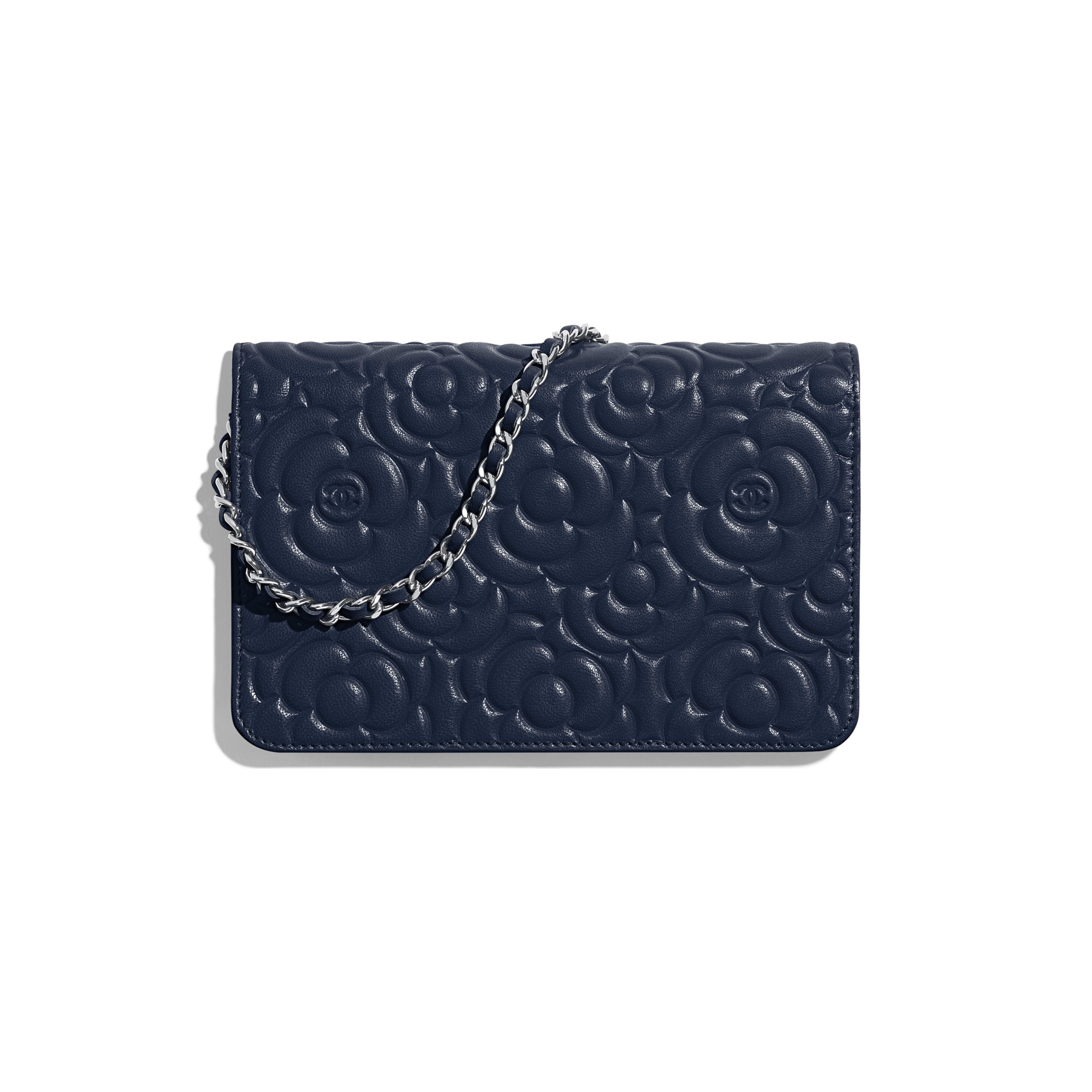 Wallet on Chain - Navy Blue - Lambskin & Silver-Tone Metal - Alternative view - see full sized version