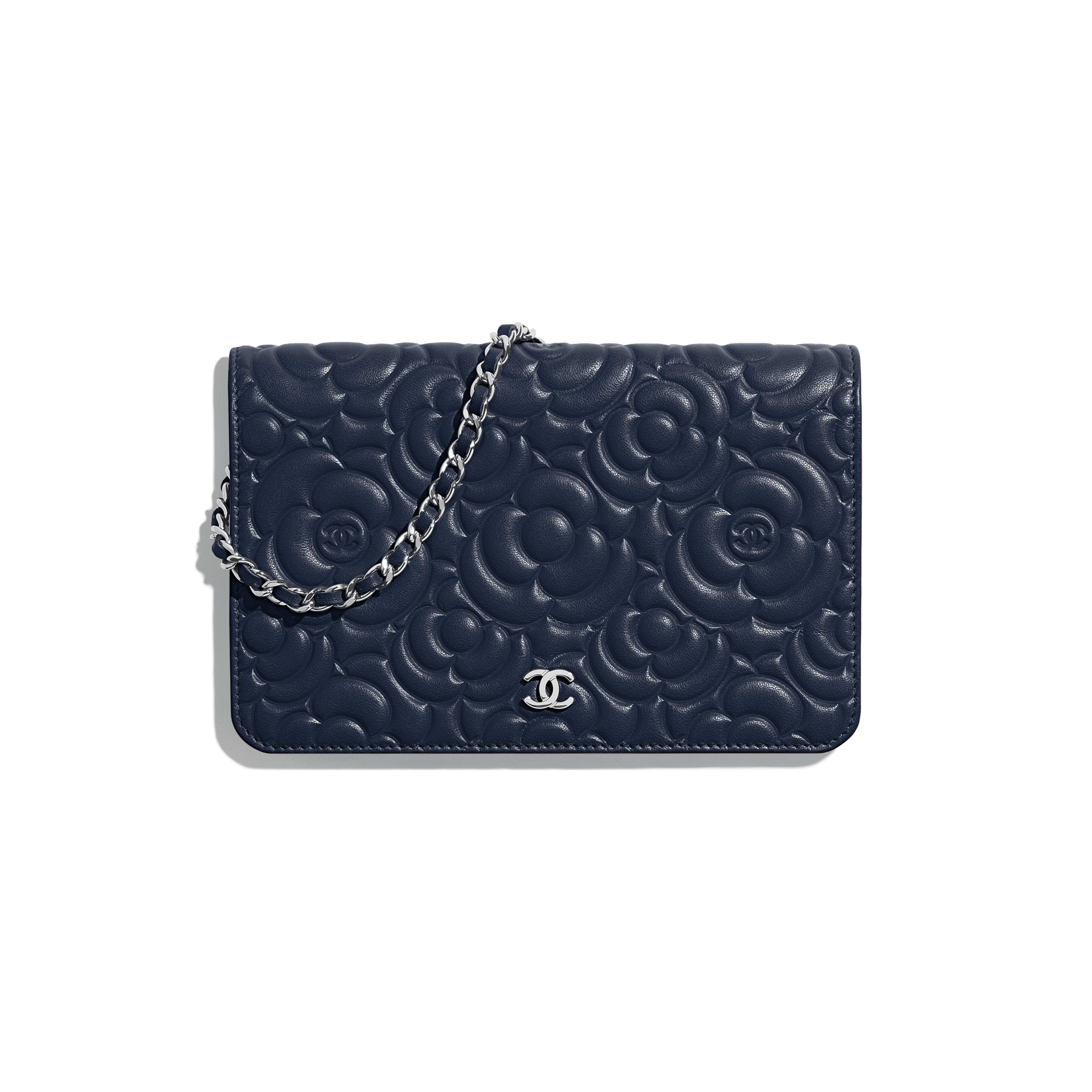 Wallet on Chain - Navy Blue - Lambskin & Silver-Tone Metal - Default view - see full sized version