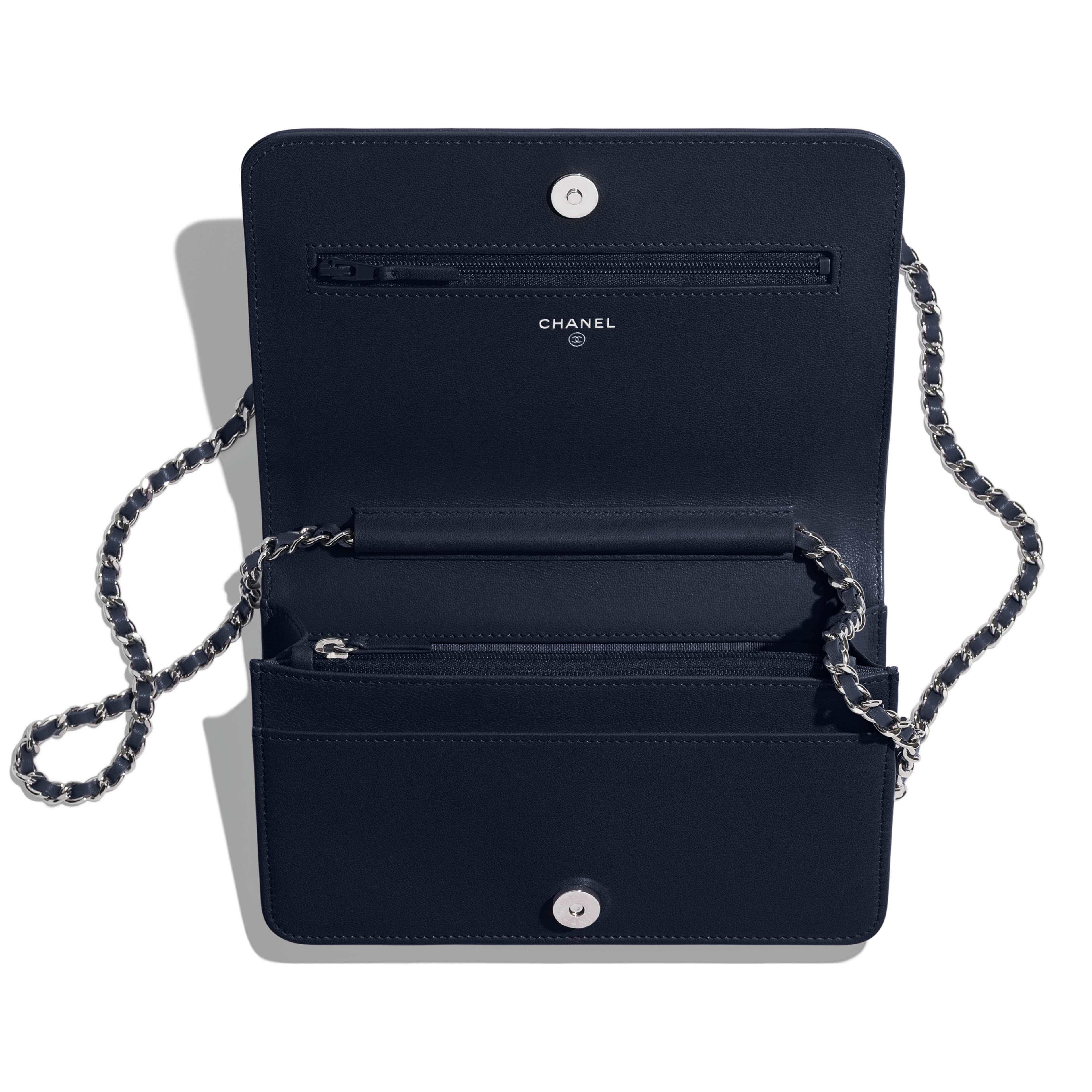 Wallet on Chain - Navy Blue - Lambskin & Silver-Tone Metal - Other view - see full sized version