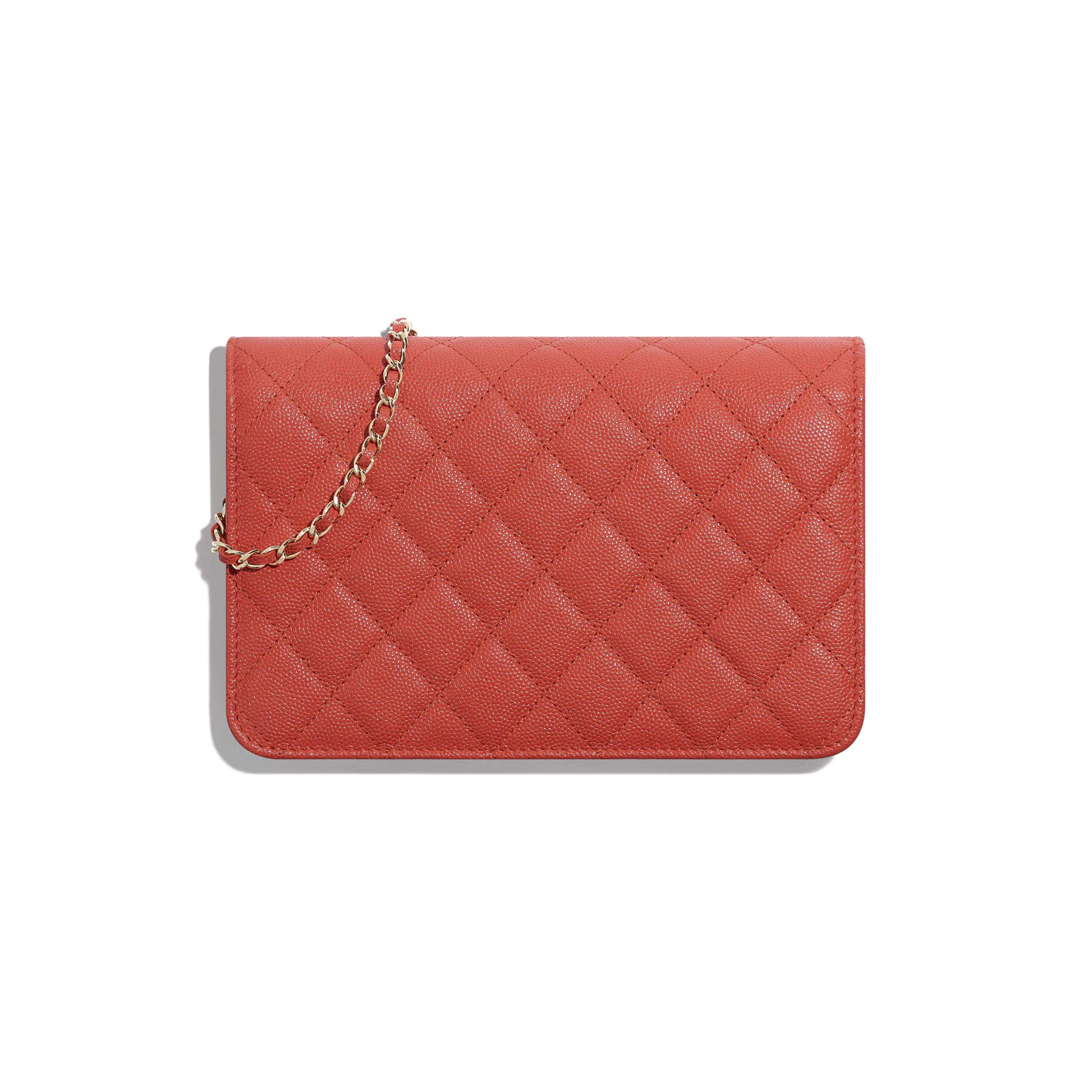Wallet on Chain - Red - Grained Goatskin & Gold-Tone Metal - Alternative view - see full sized version