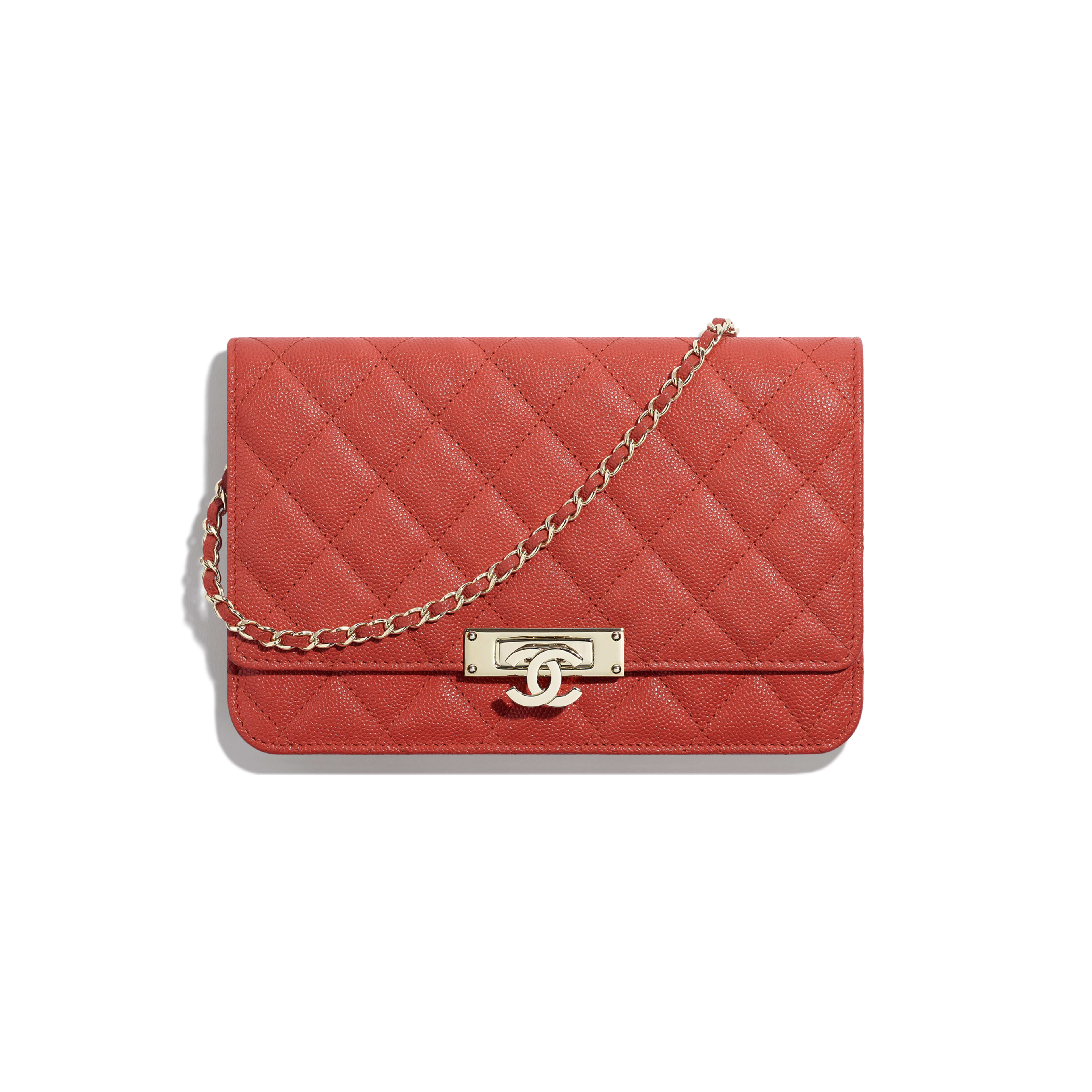 Wallet on Chain - Red - Grained Goatskin & Gold-Tone Metal - Default view - see full sized version