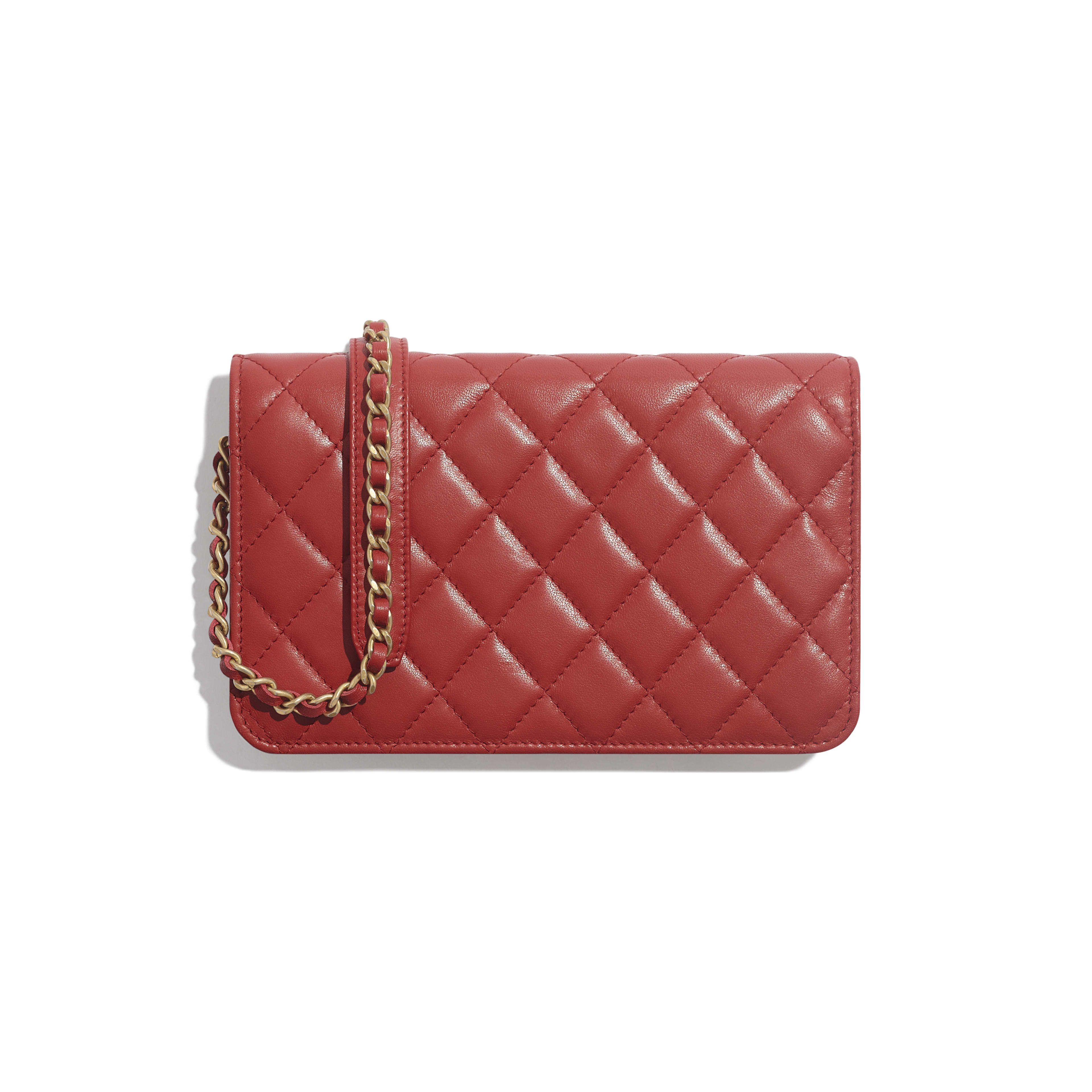 Wallet on Chain - Red - Lambskin & Gold-Tone Metal - Alternative view - see full sized version