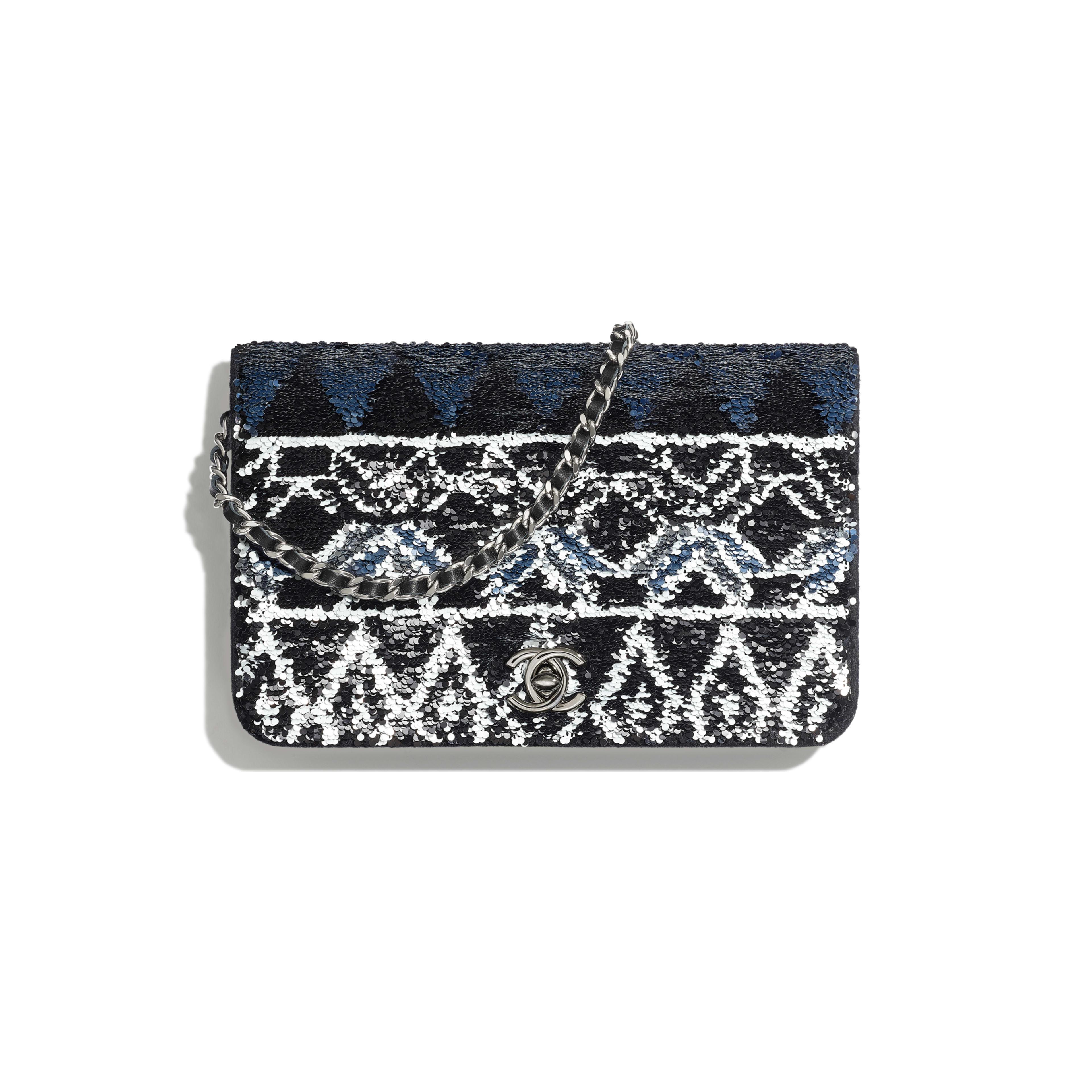 กระเป๋าสตางค์พร้อมสายโซ่ - สีเงินและสีดำ - เลื่อม ใยขนแกะ และโลหะเคลือบรูทีเนียม - มุมมองปัจจุบัน - ดูเวอร์ชันขนาดเต็ม