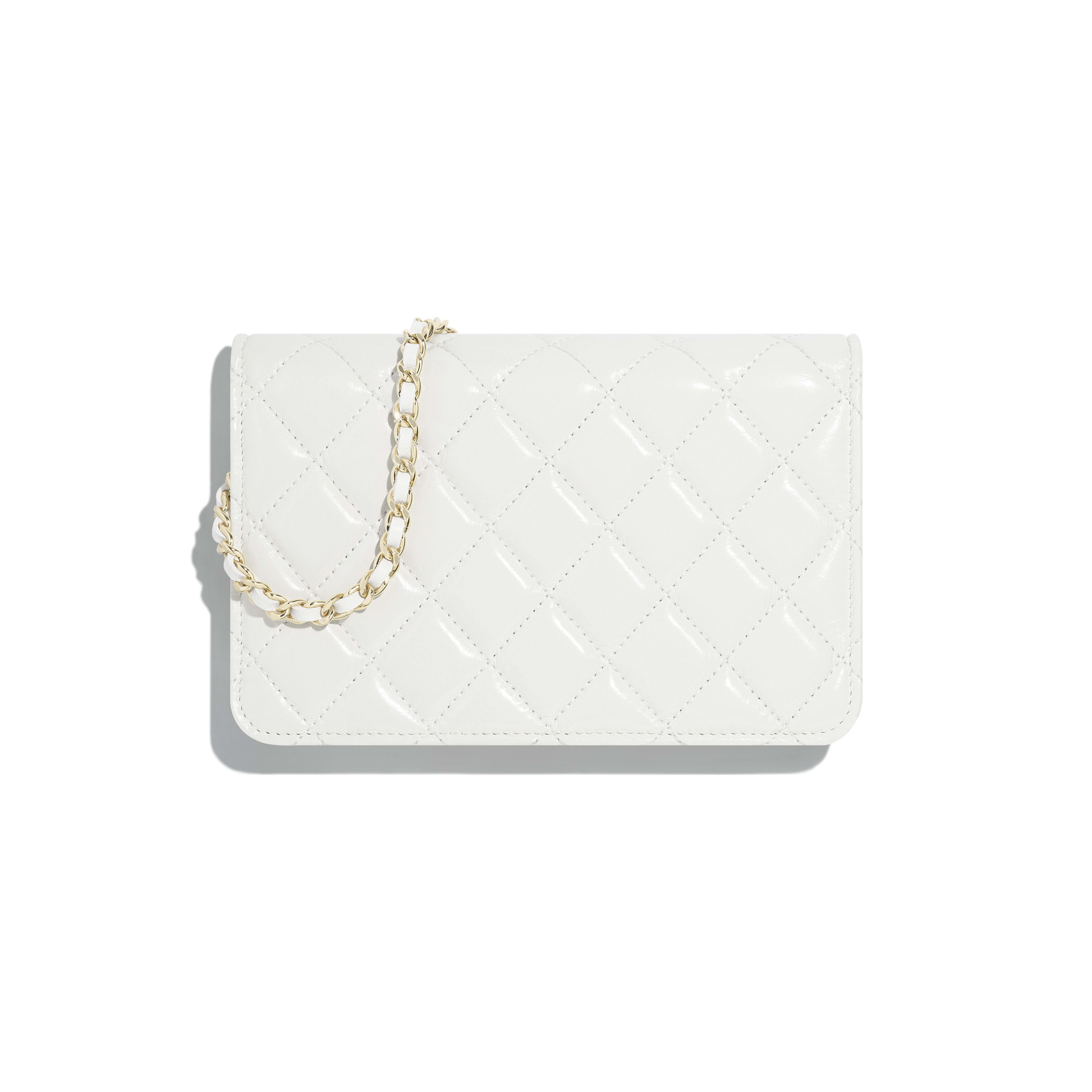 Wallet on Chain - White - Shiny Lambskin & Gold-Tone Metal - Alternative view - see full sized version