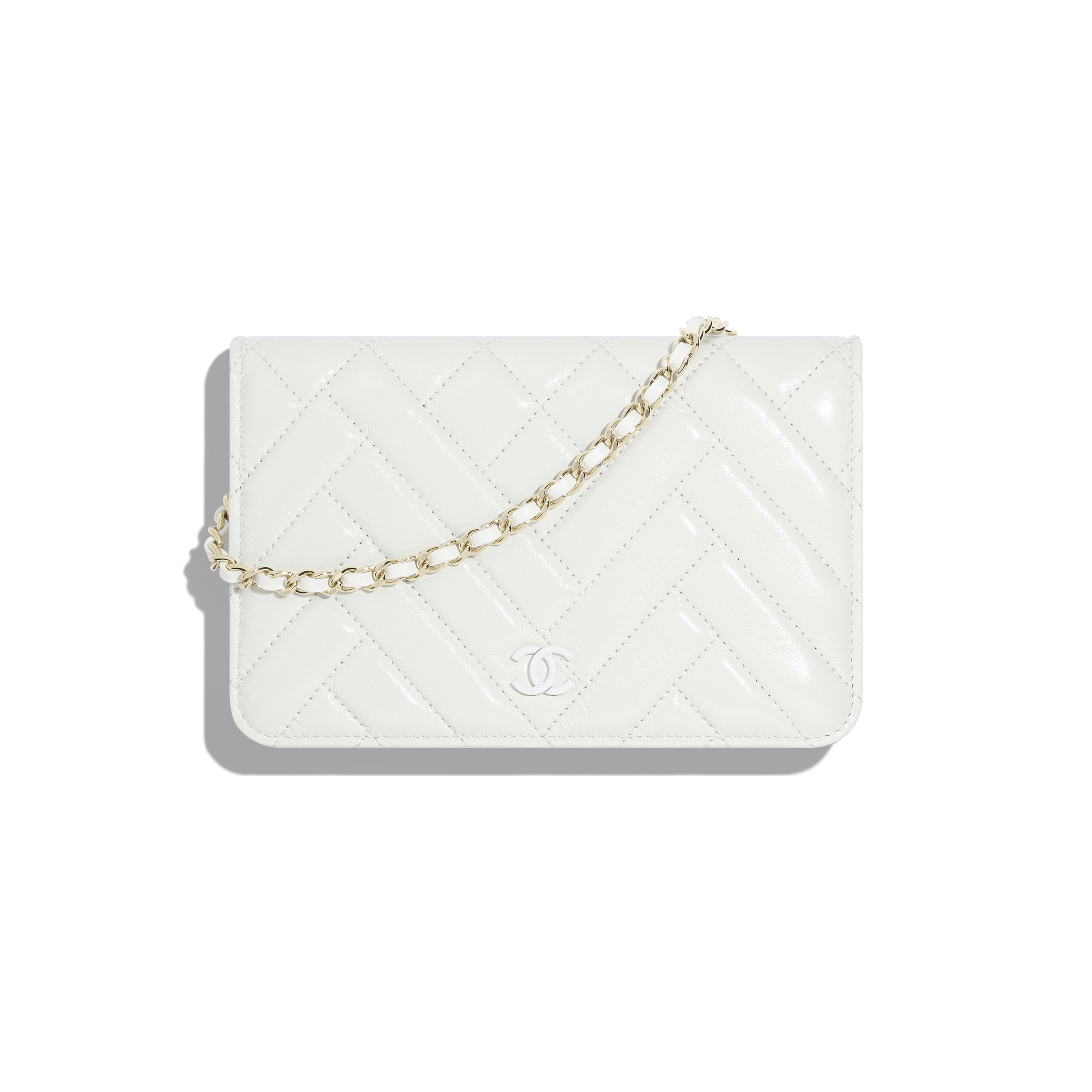 Wallet on Chain - White - Shiny Lambskin & Gold-Tone Metal - Default view - see full sized version