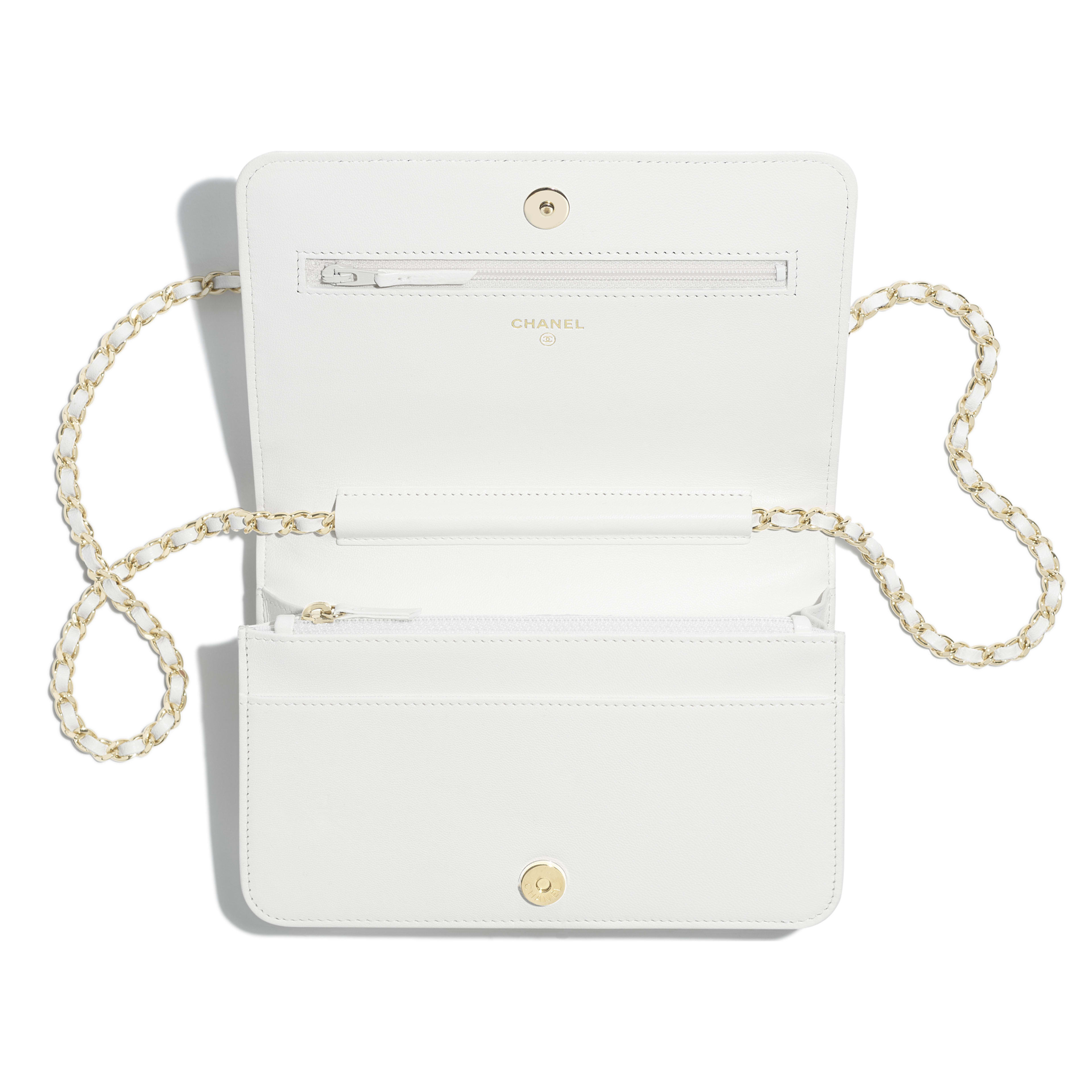 Wallet on Chain - White - Shiny Lambskin & Gold-Tone Metal - Other view - see full sized version