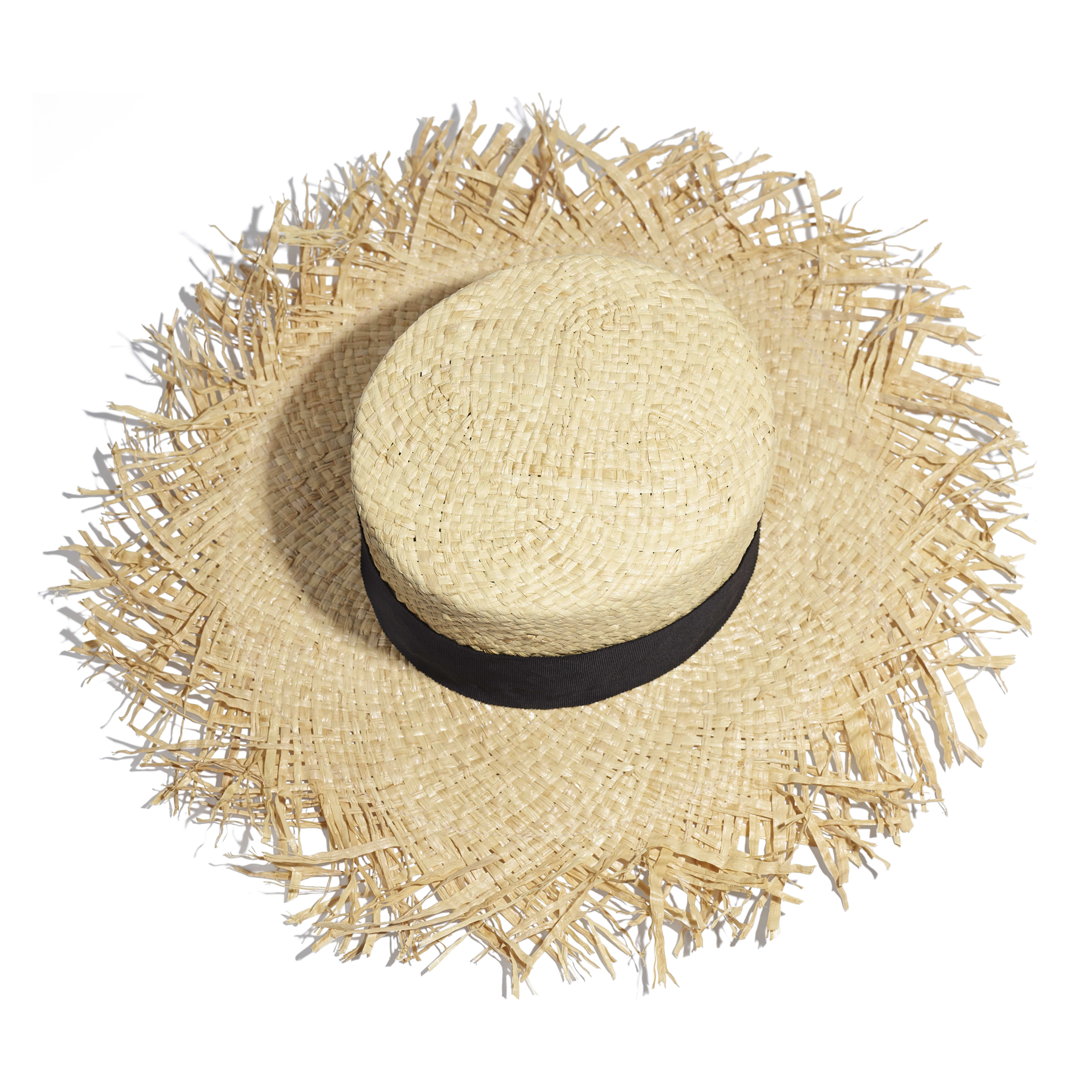 Wide-Brimmed Hat - Beige & Black - Raffia, Grosgrain & Metal - Alternative view - see full sized version