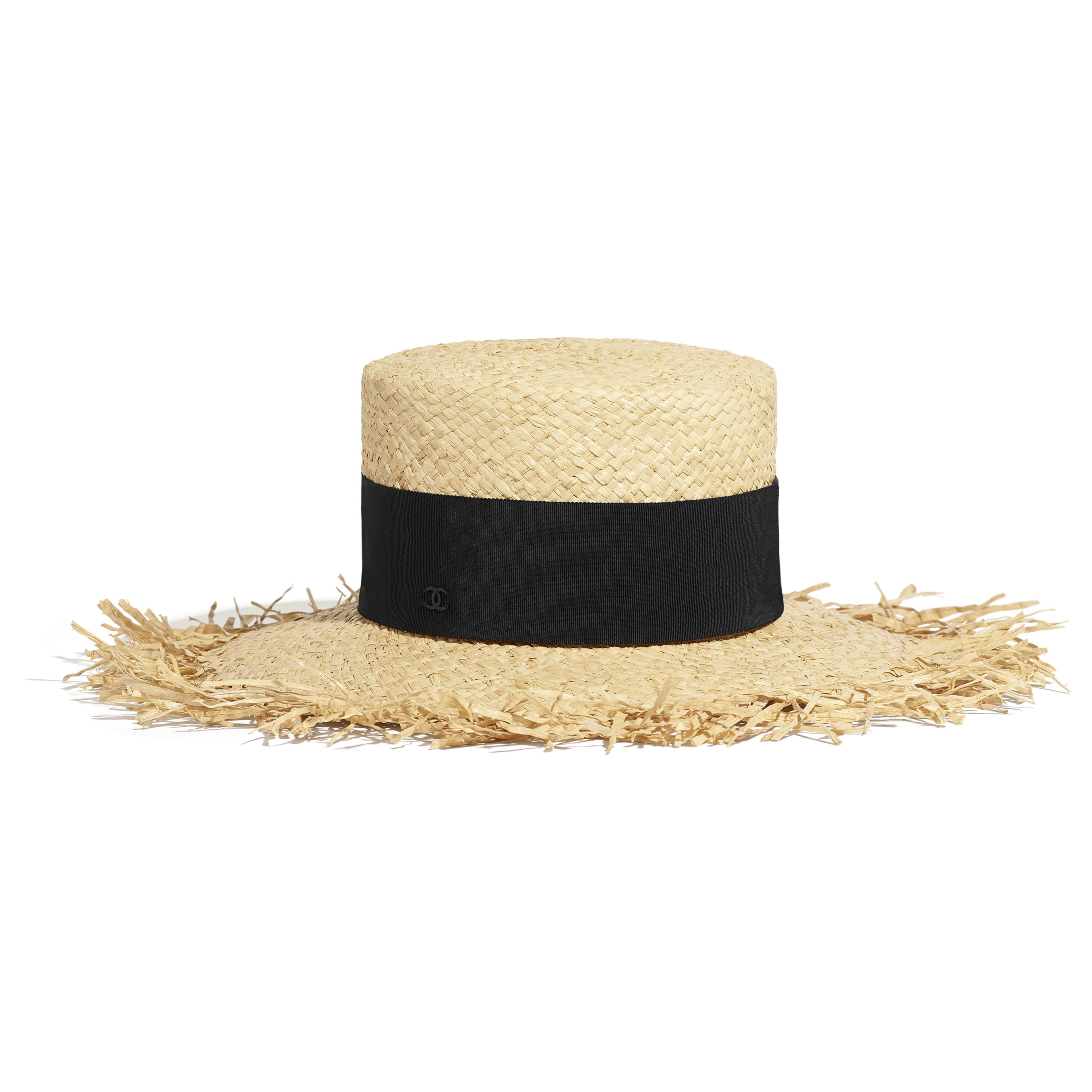 Raffia, Grosgrain & Metal Beige & Black Wide-Brimmed Hat | CHANEL