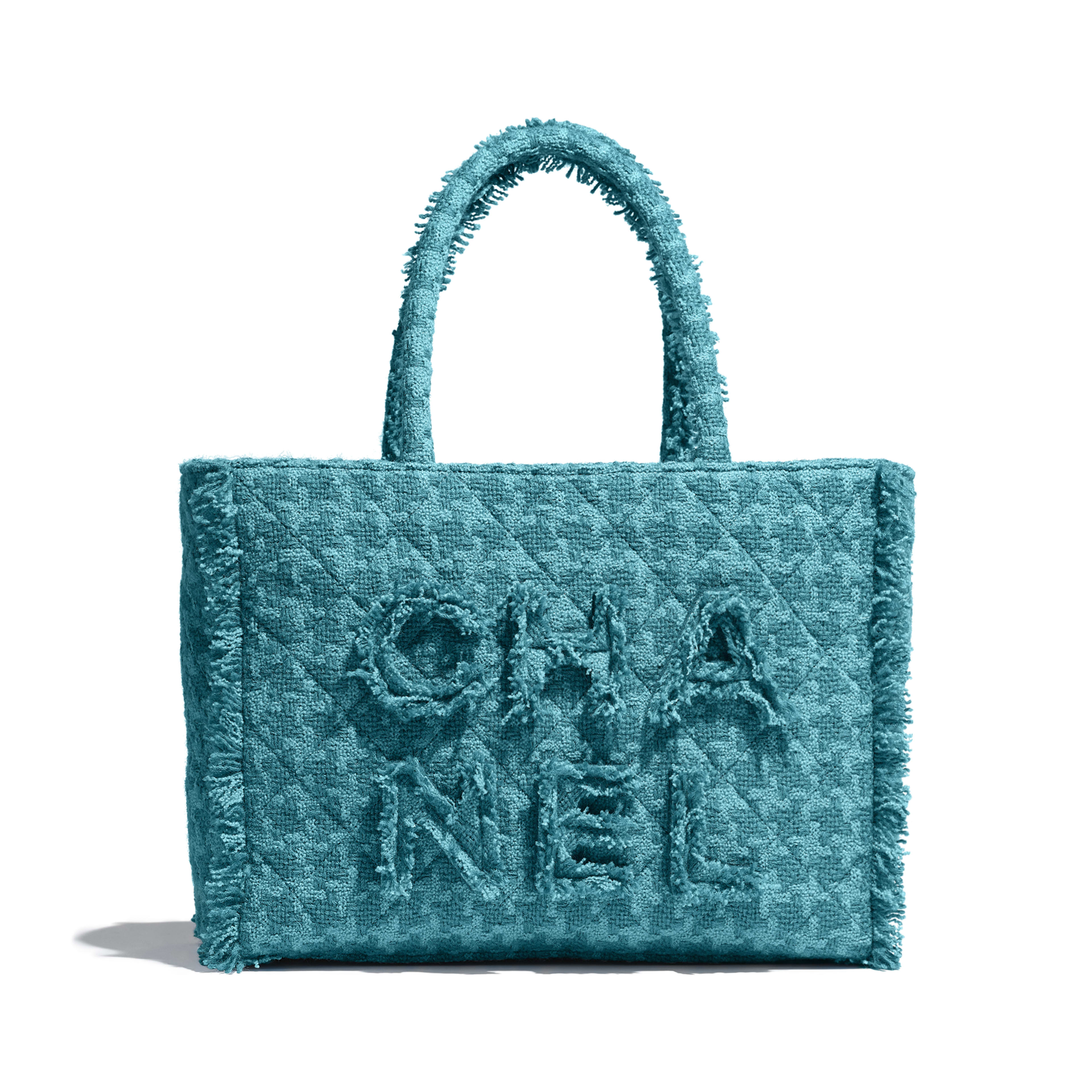 Zipped Shopping Bag - Turquoise - Wool Tweed & Gold-Tone Metal - Default view - see full sized version