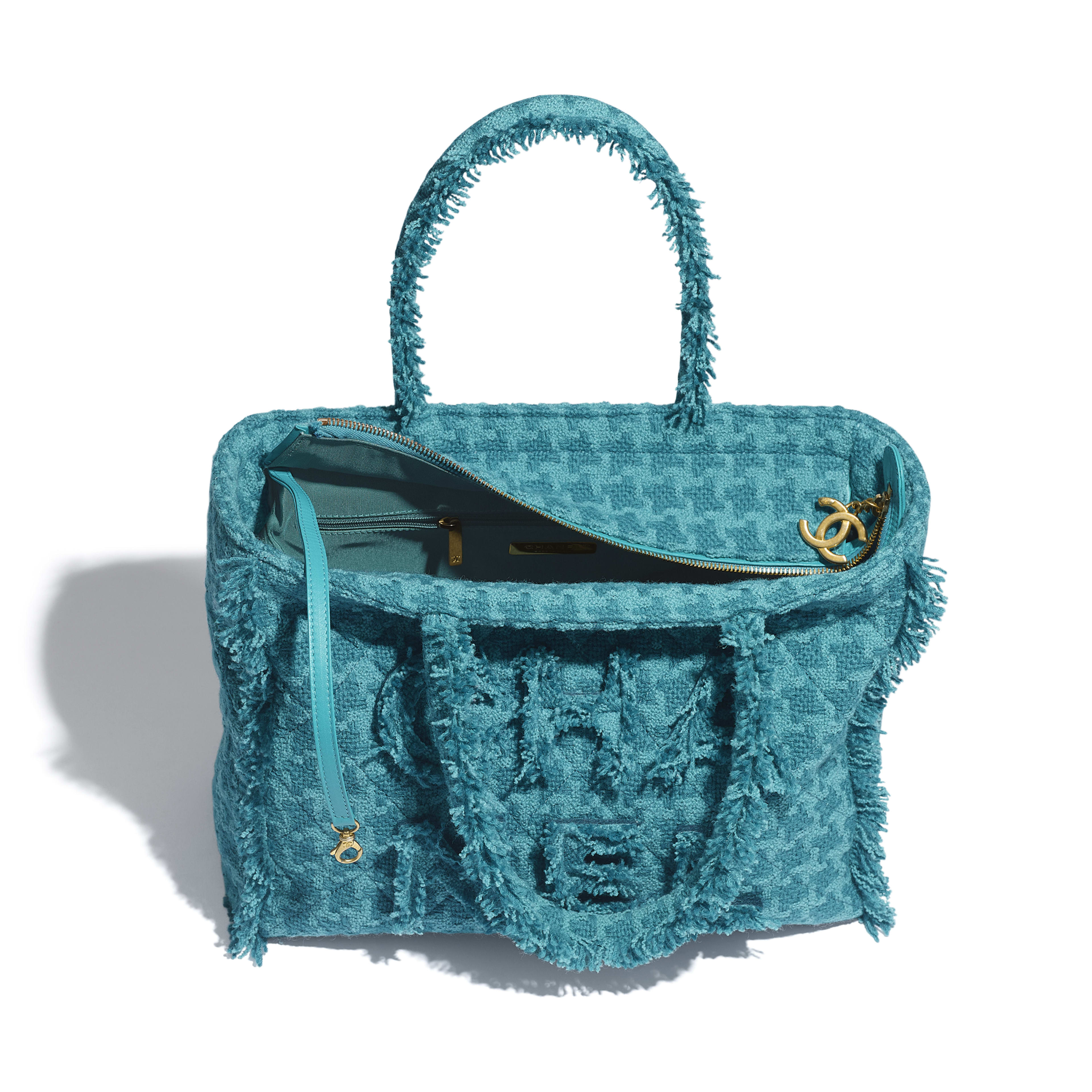 Zipped Shopping Bag - Turquoise - Wool Tweed & Gold-Tone Metal - Other view - see full sized version