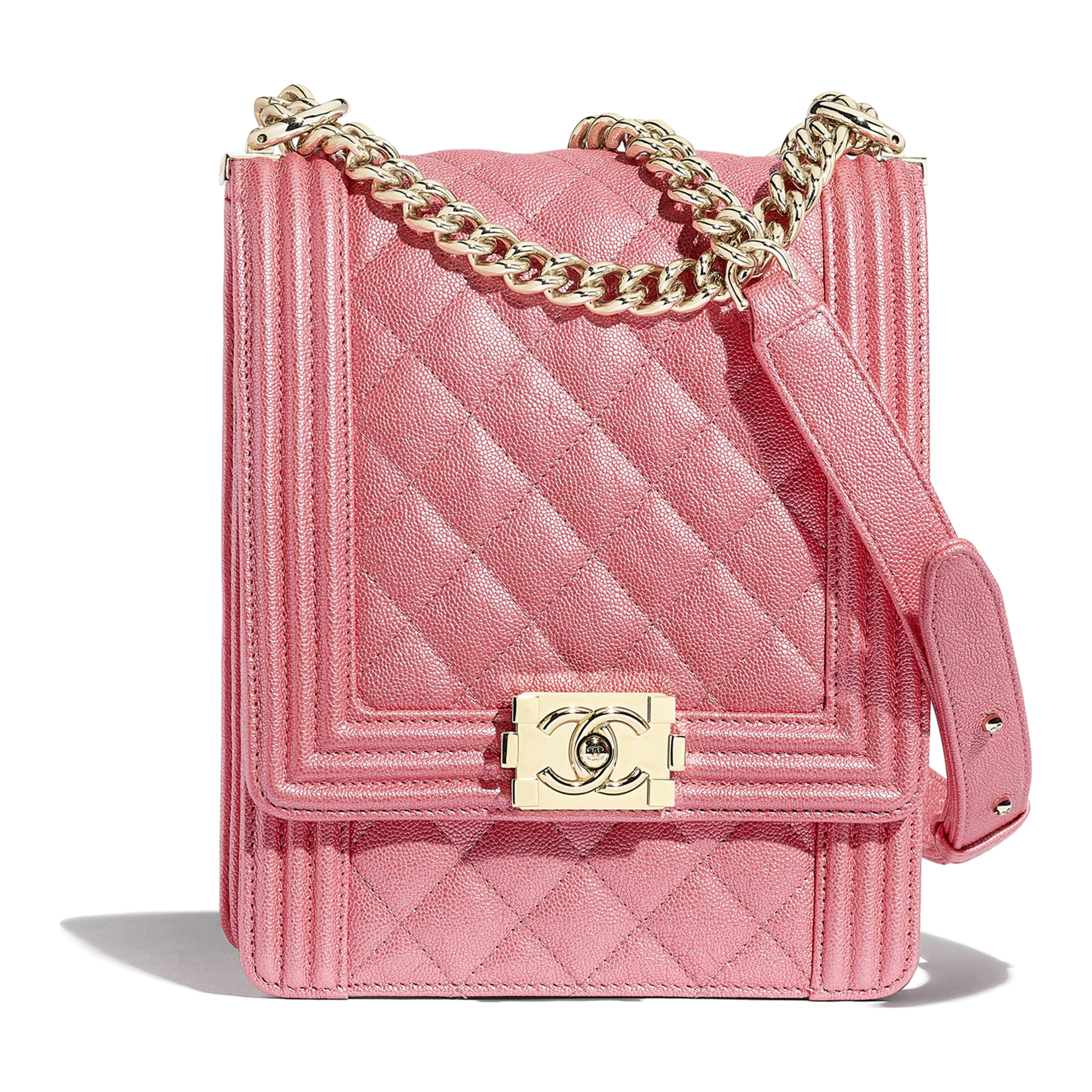 16aacaca89d11 Metallic Grained Calfskin   Gold-Tone Metal Pink BOY CHANEL Handbag ...