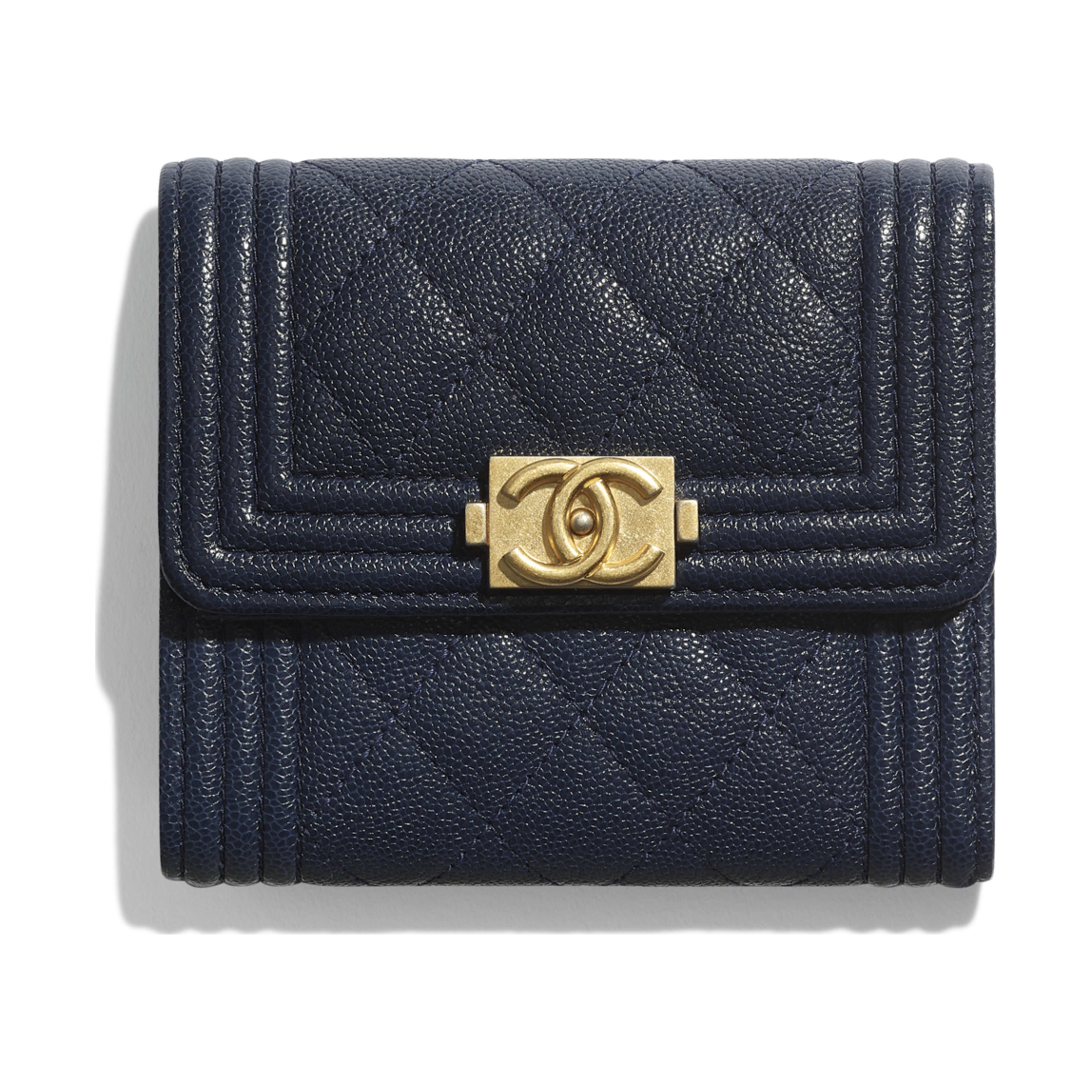 fc966476382221 Grained Calfskin Gold Tone Metal Navy Blue Boy Chanel Small Flap