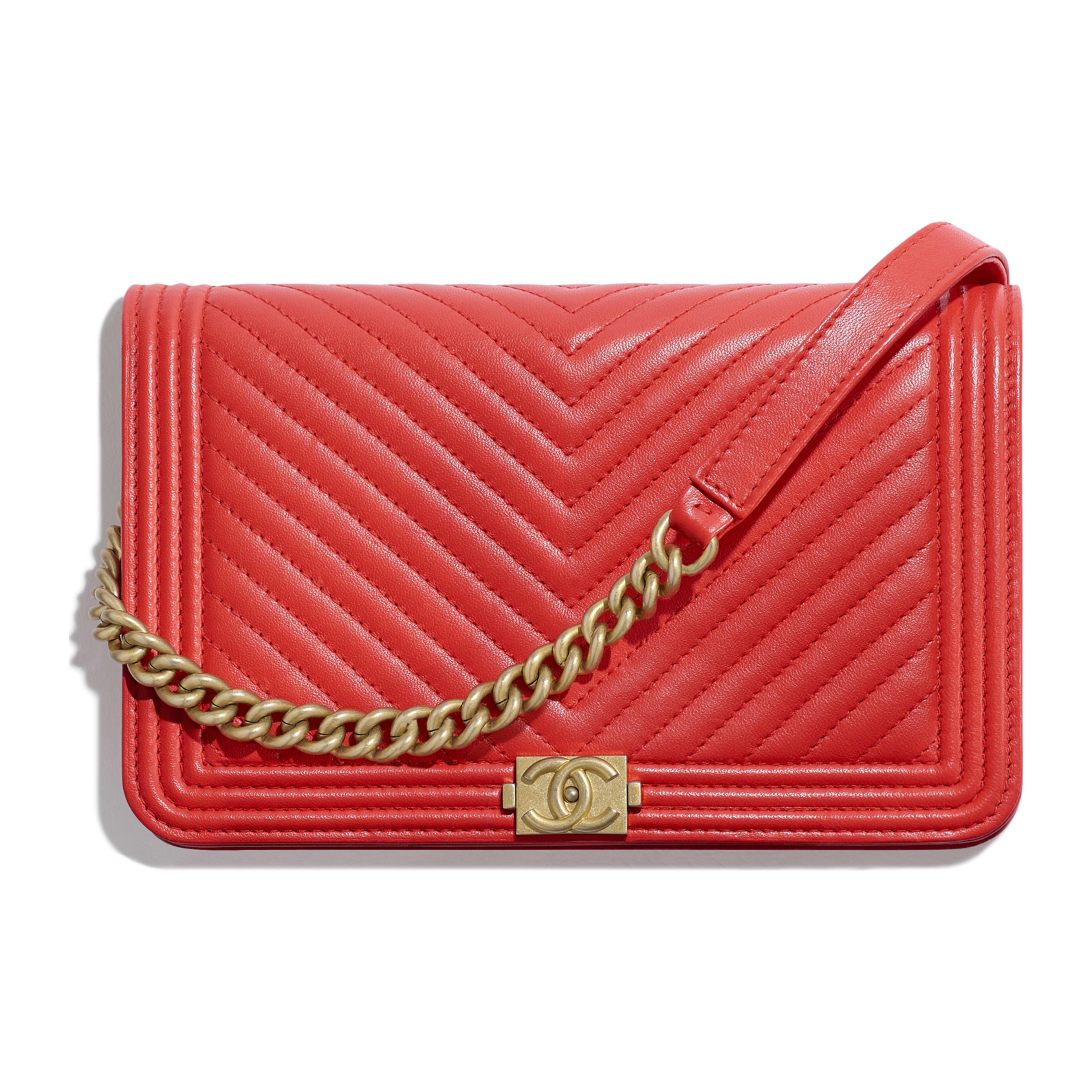 167e72acf7f9 Lambskin   Gold-Tone Metal Red BOY CHANEL Wallet on Chain
