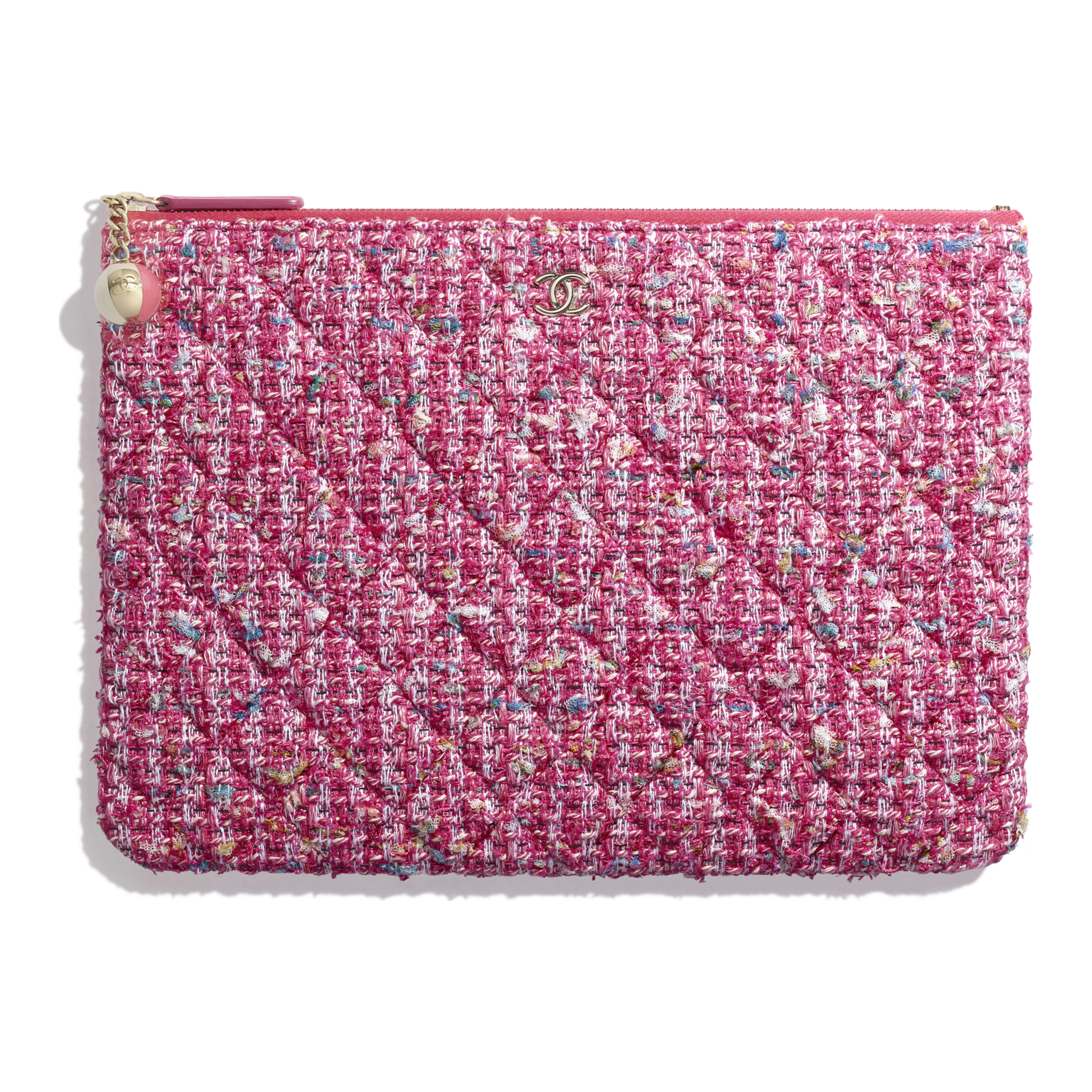 284ae67976f97e Tweed & Gold-Tone Metal Pink, Blue, White & Ochre Classic Pouch | CHANEL