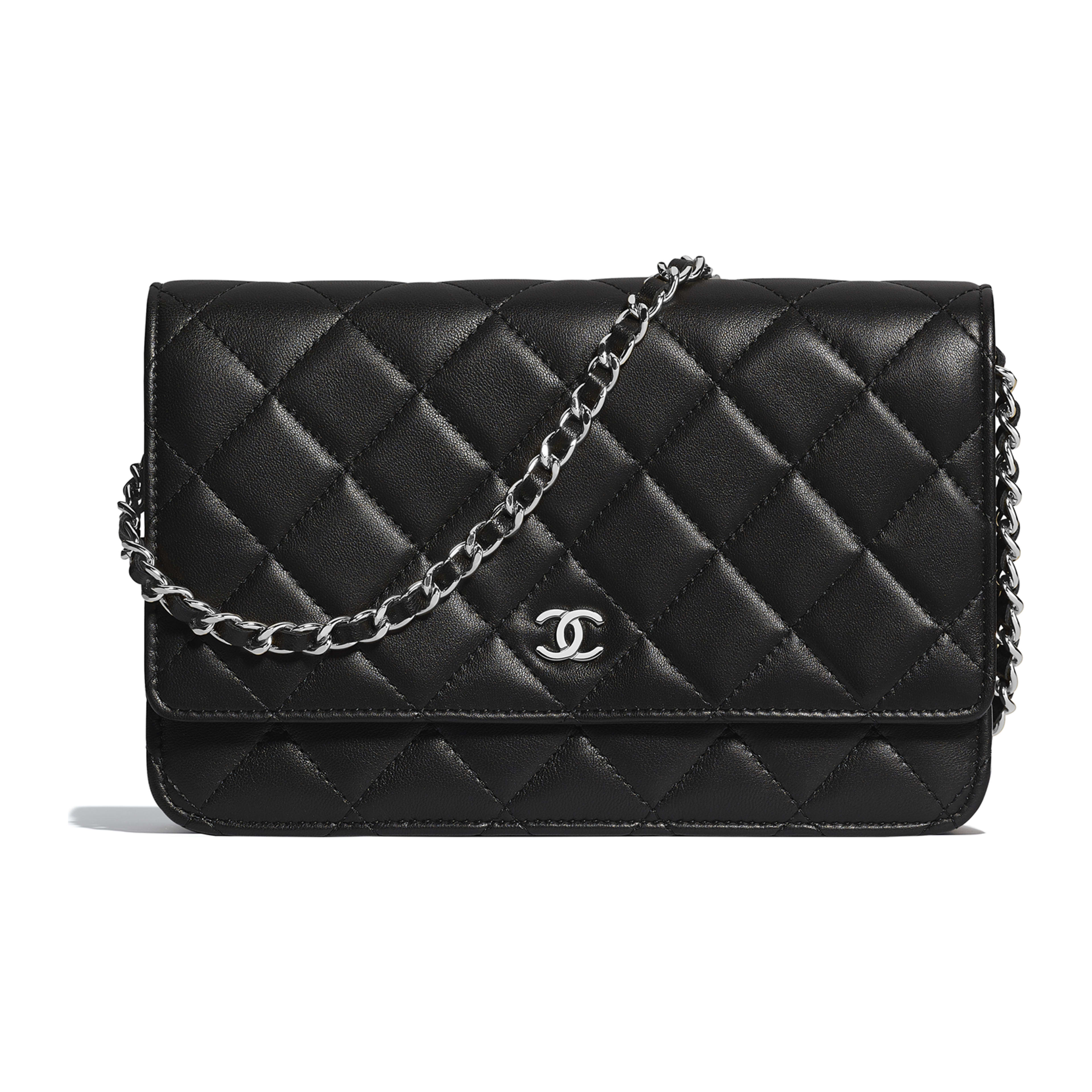 6547700e808a Lambskin   Silver-Tone Metal Black Classic Wallet on Chain
