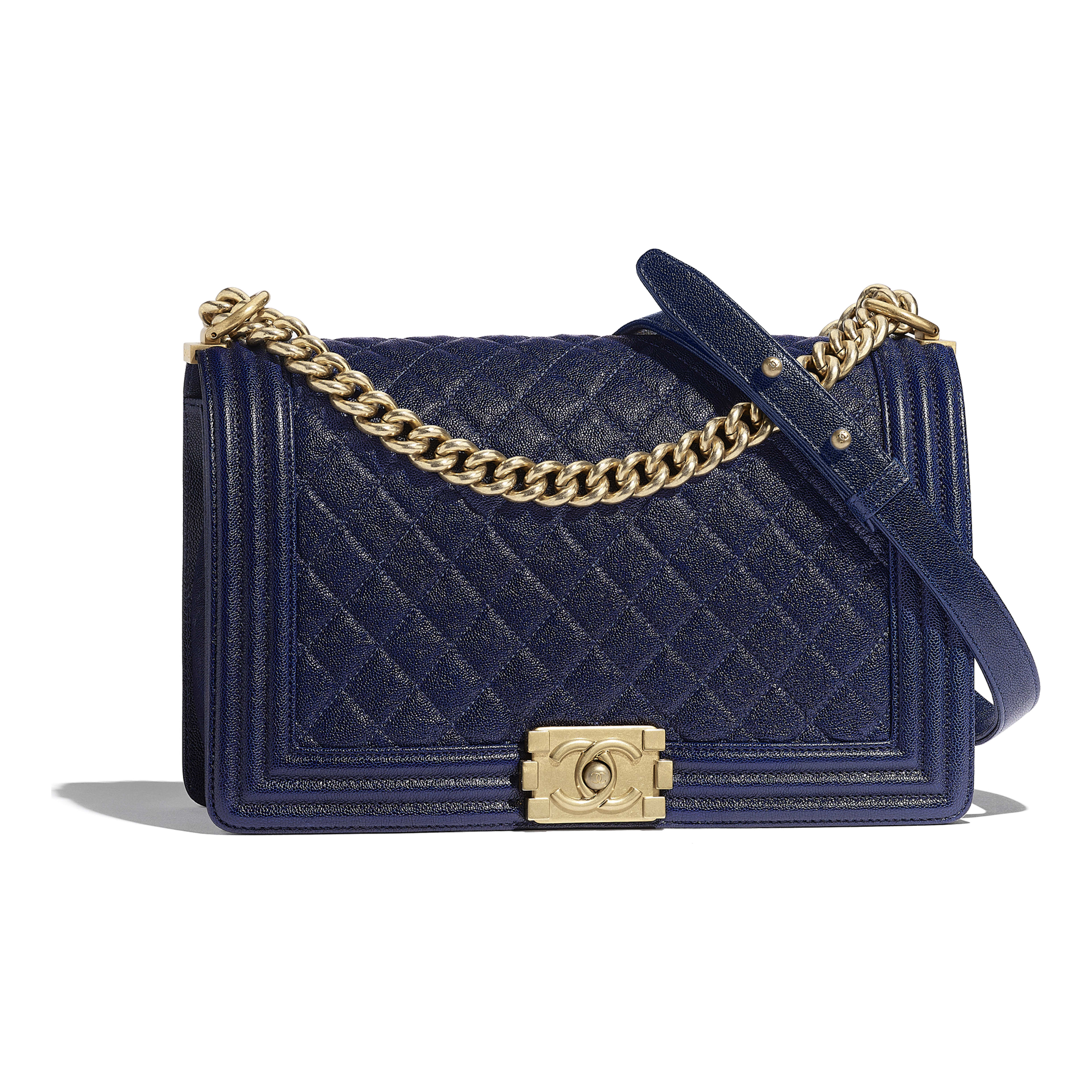 c2d4b3c43d03 Grained Calfskin & Gold-Tone Metal Blue Large BOY CHANEL Handbag ...