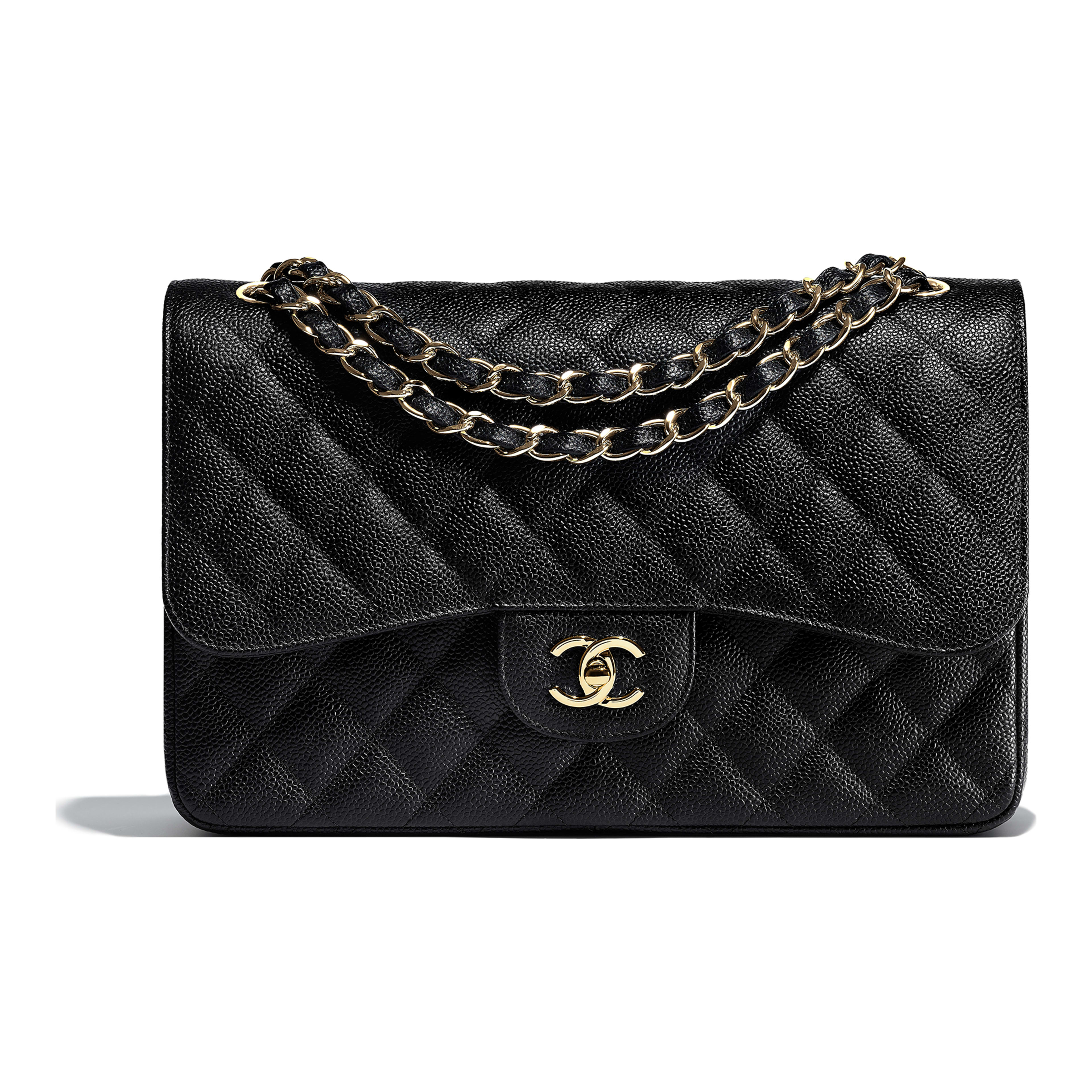 Grained Calfskin Gold Tone Metal Black Large Classic Handbag Chanel