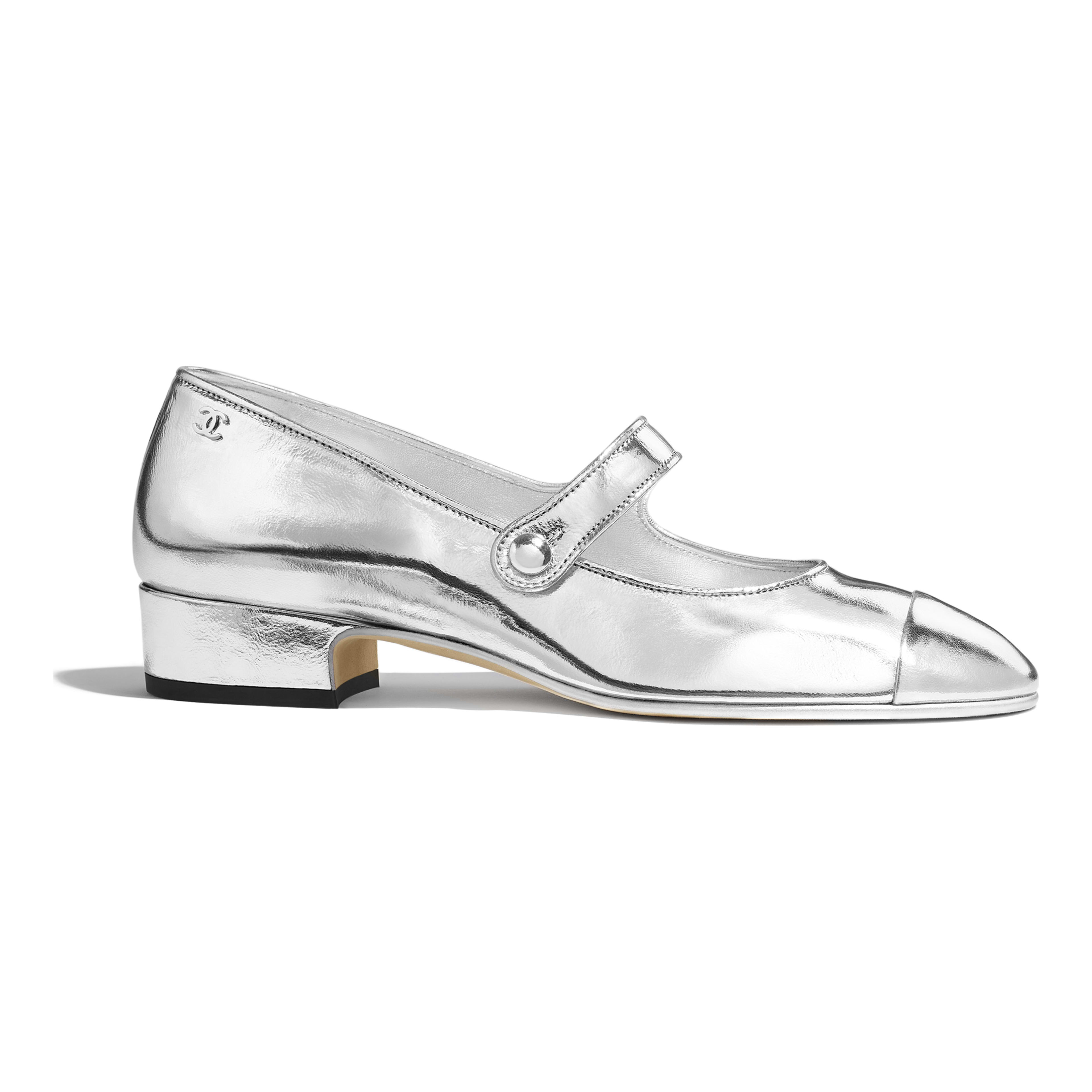 ccc68524c507 Laminated Goatskin Silver Mary Janes