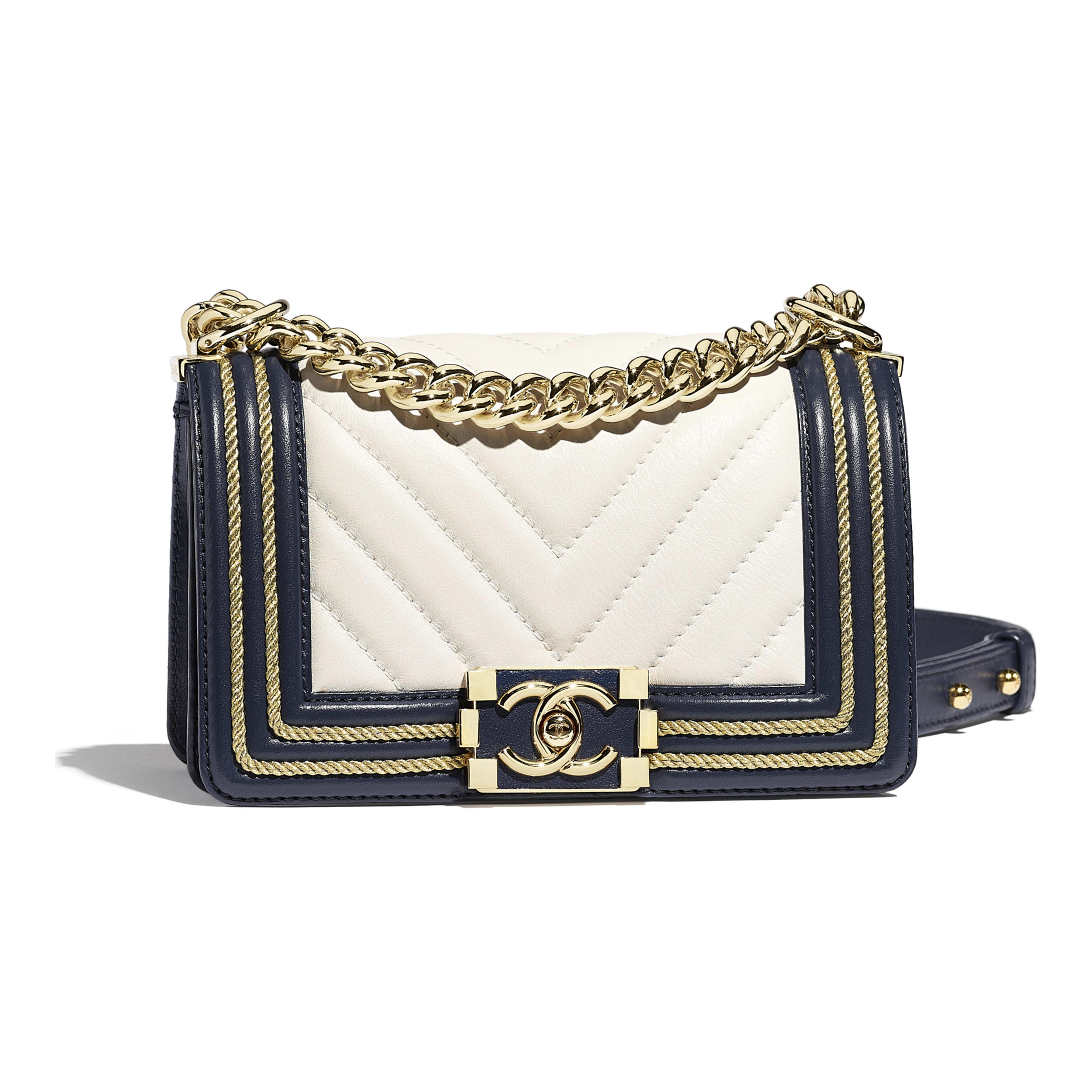 a75fe795e829 Calfskin Braid Gold Tone Metal White Navy Blue Small Boy Chanel