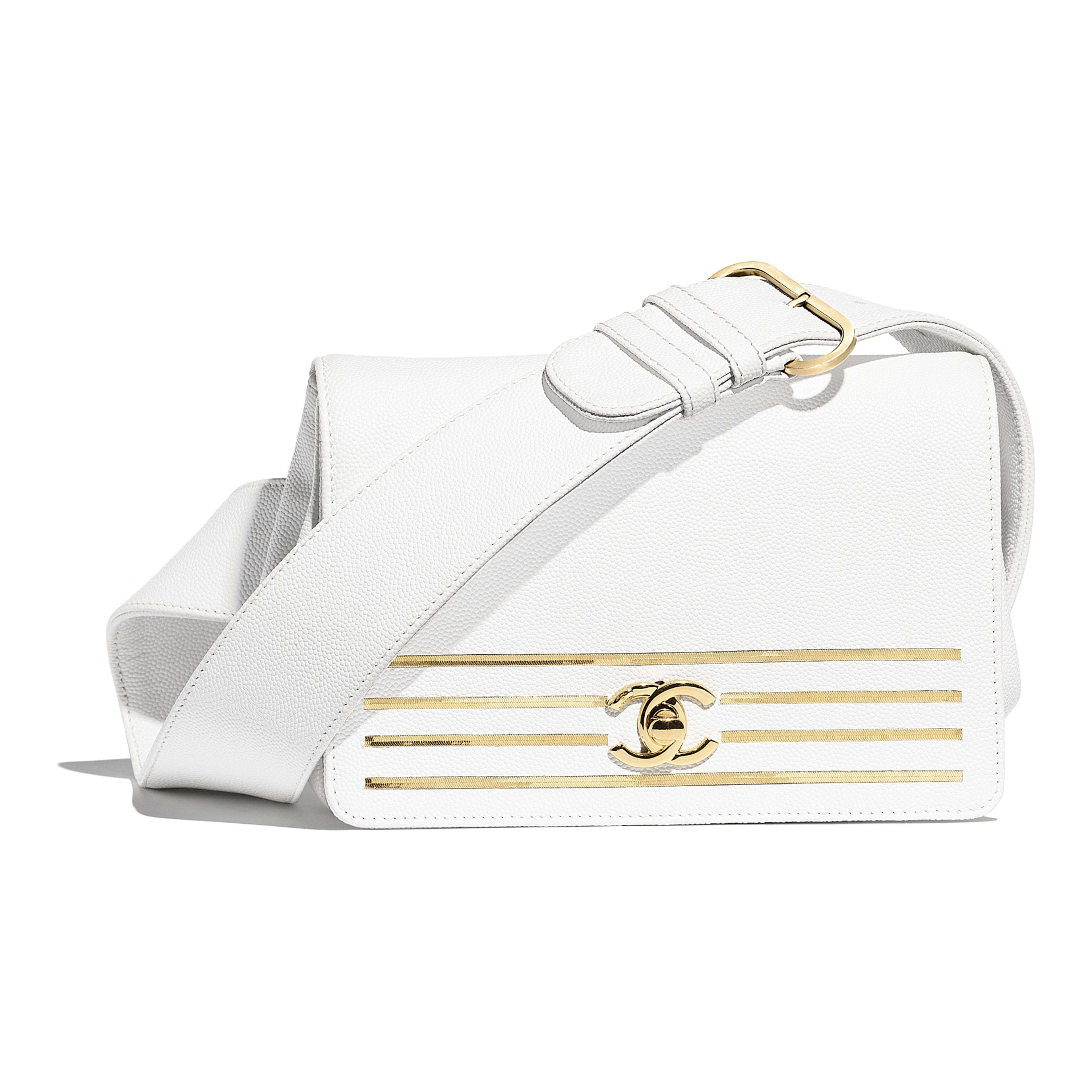 c4877d0cf39c Embroidered Grained Calfskin   Gold-Tone Metal White Waist Bag