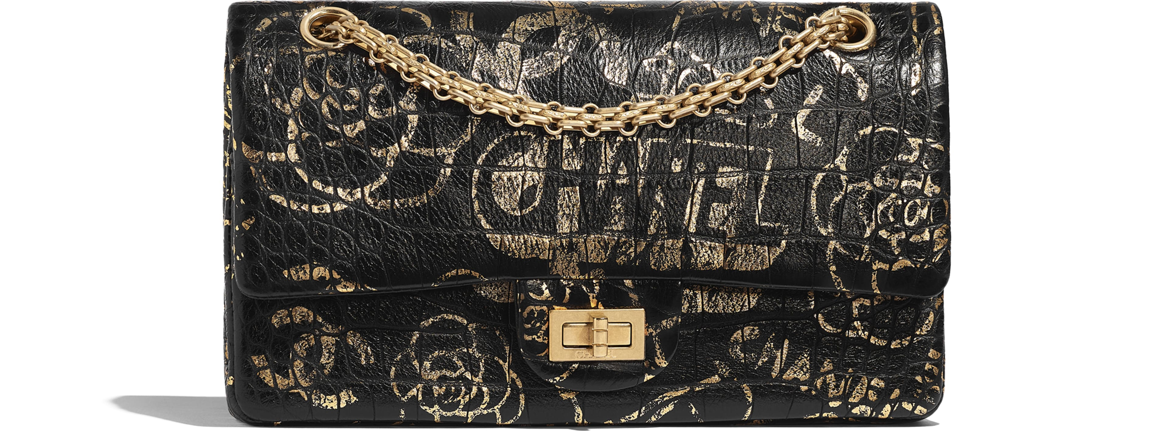 Crocodile Embossed Printed Leather & Gold-Tone Metal Black & Gold