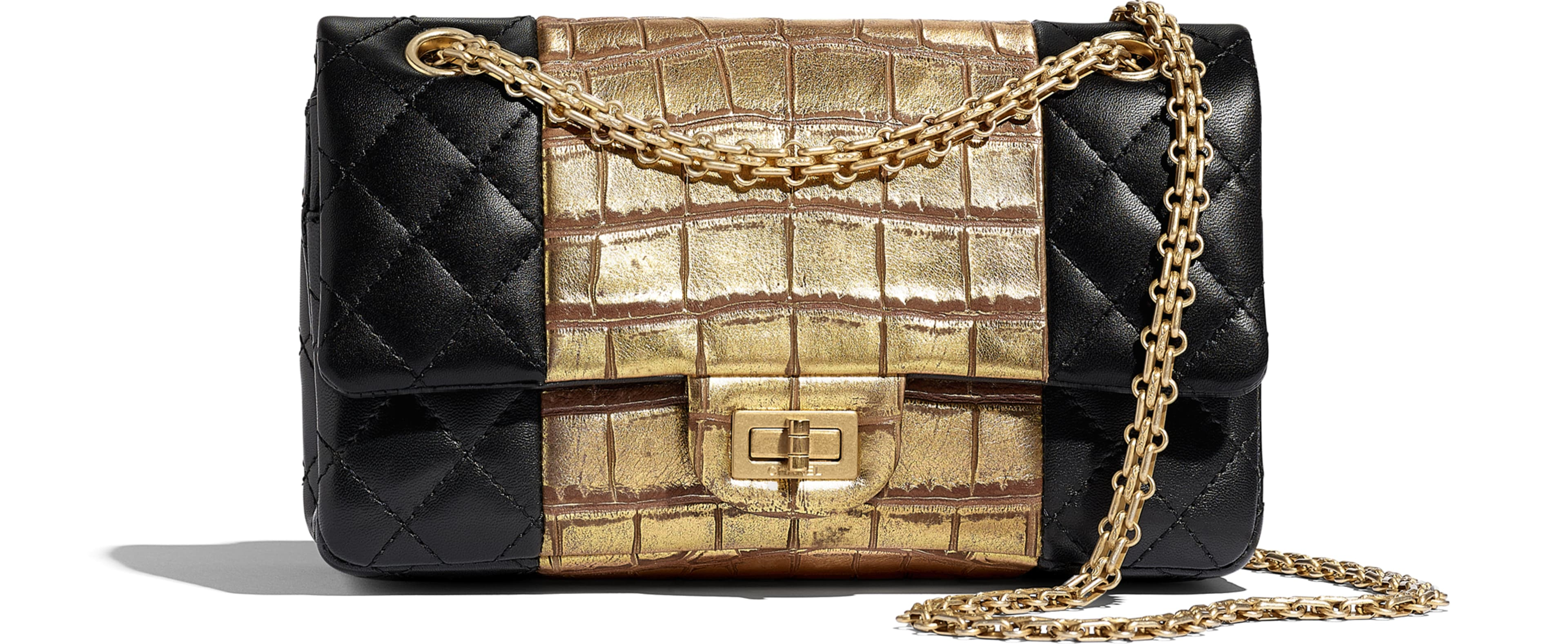 Lambskin, Crocodile Embossed Calfskin & Gold-Tone Metal Black & Gold